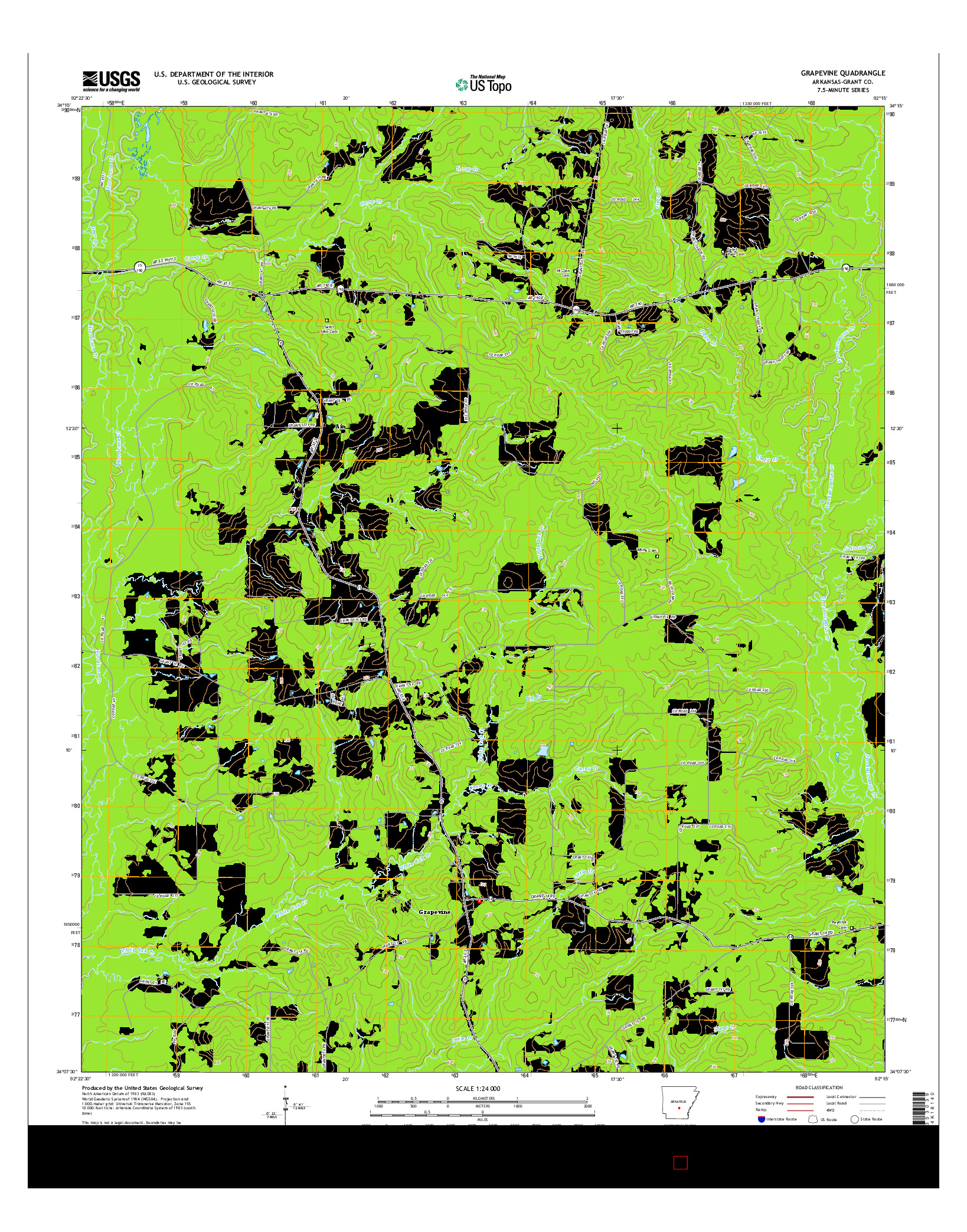 USGS US TOPO 7.5-MINUTE MAP FOR GRAPEVINE, AR 2014