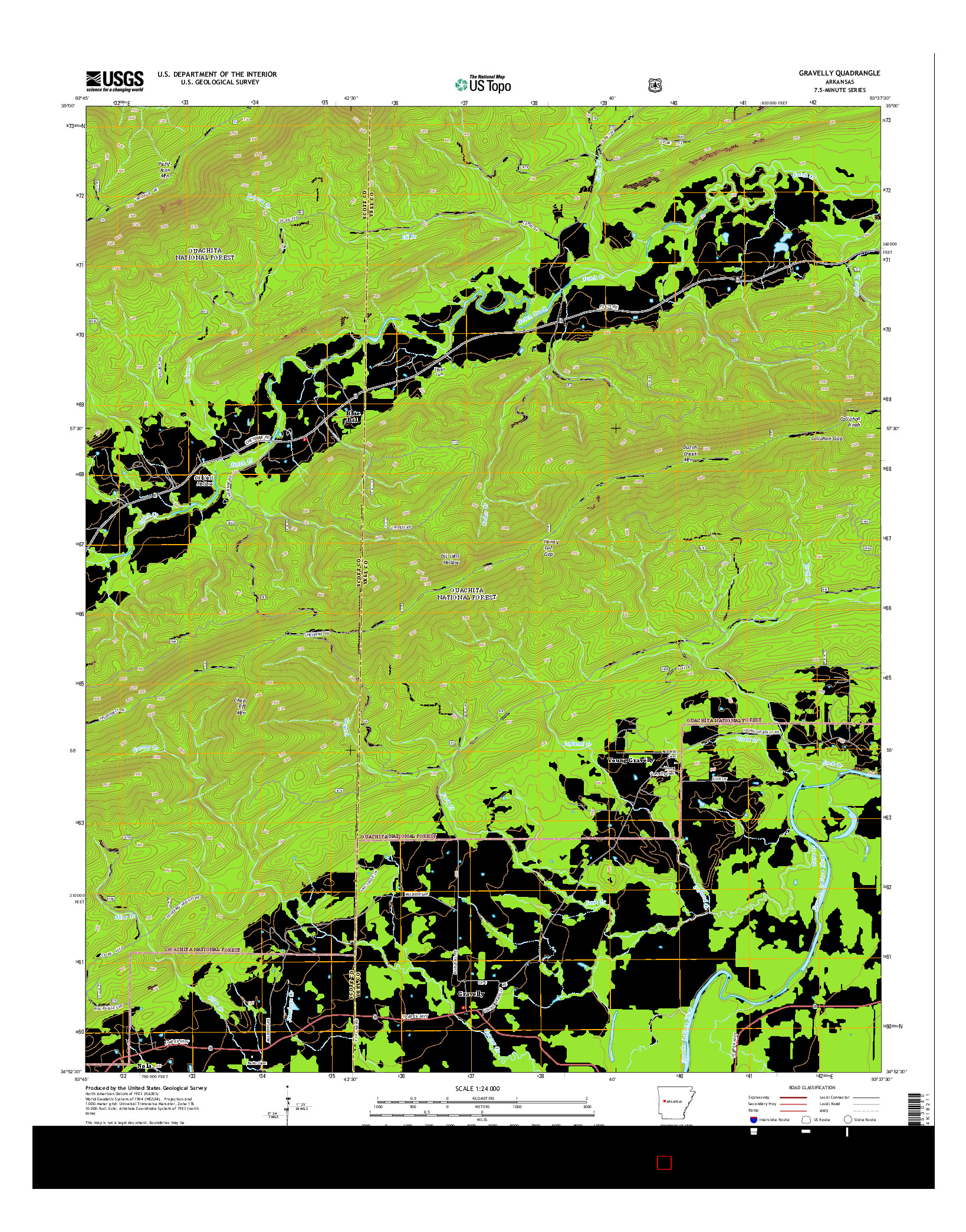 USGS US TOPO 7.5-MINUTE MAP FOR GRAVELLY, AR 2014