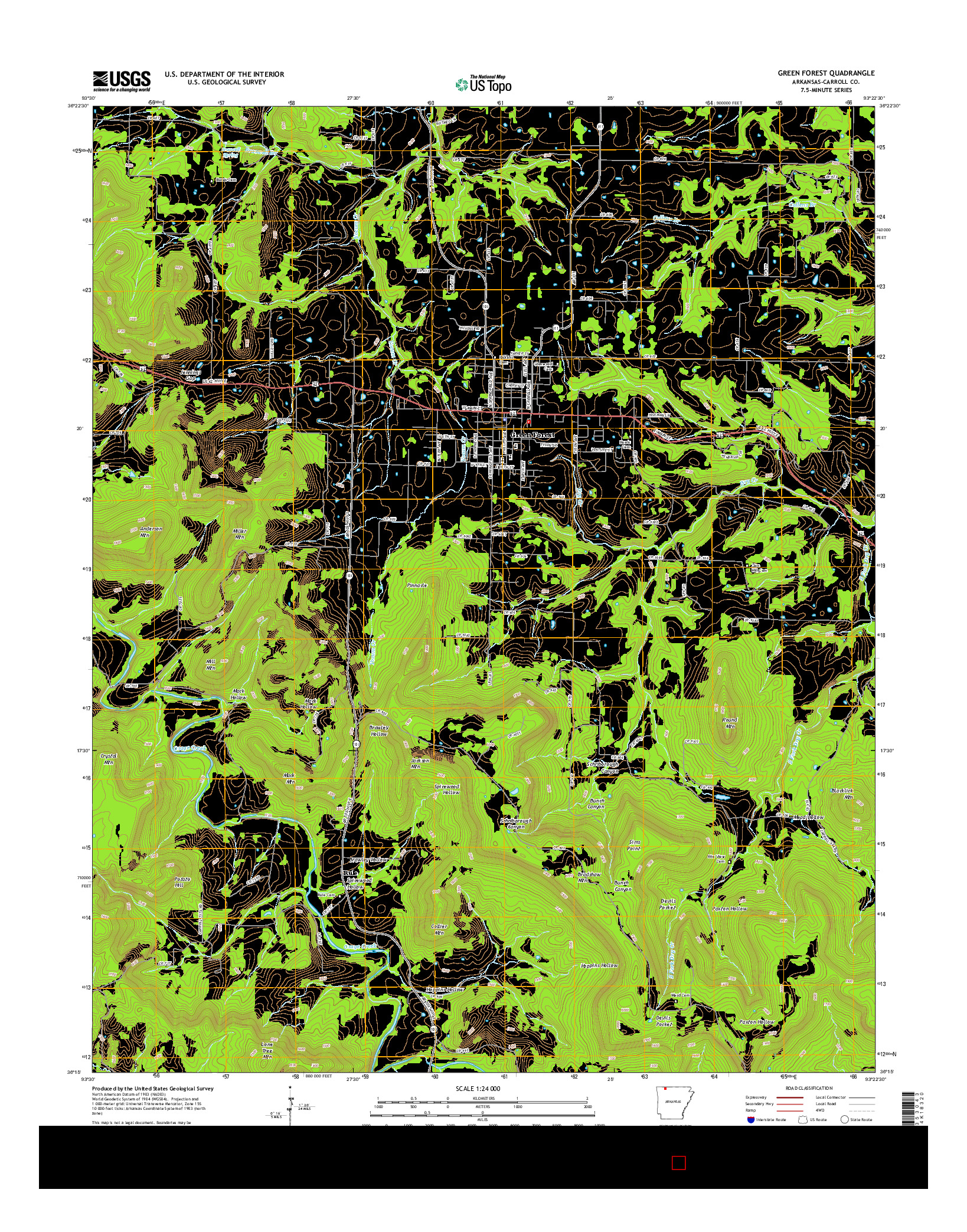 USGS US TOPO 7.5-MINUTE MAP FOR GREEN FOREST, AR 2014