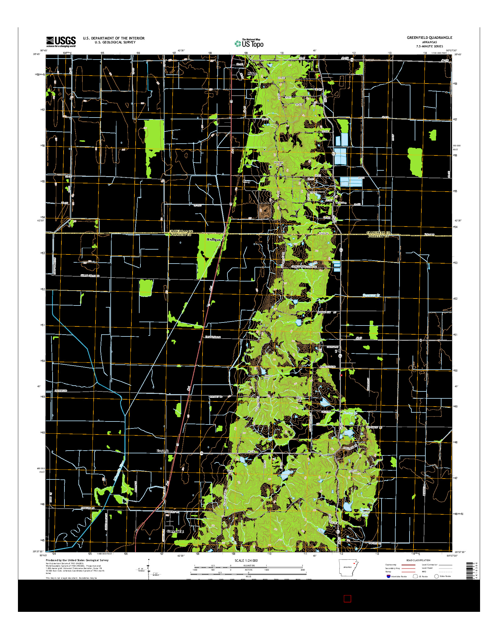 USGS US TOPO 7.5-MINUTE MAP FOR GREENFIELD, AR 2014