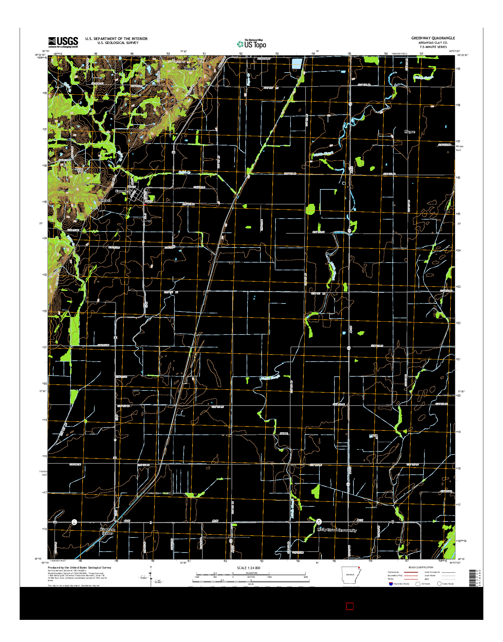 USGS US TOPO 7.5-MINUTE MAP FOR GREENWAY, AR 2014