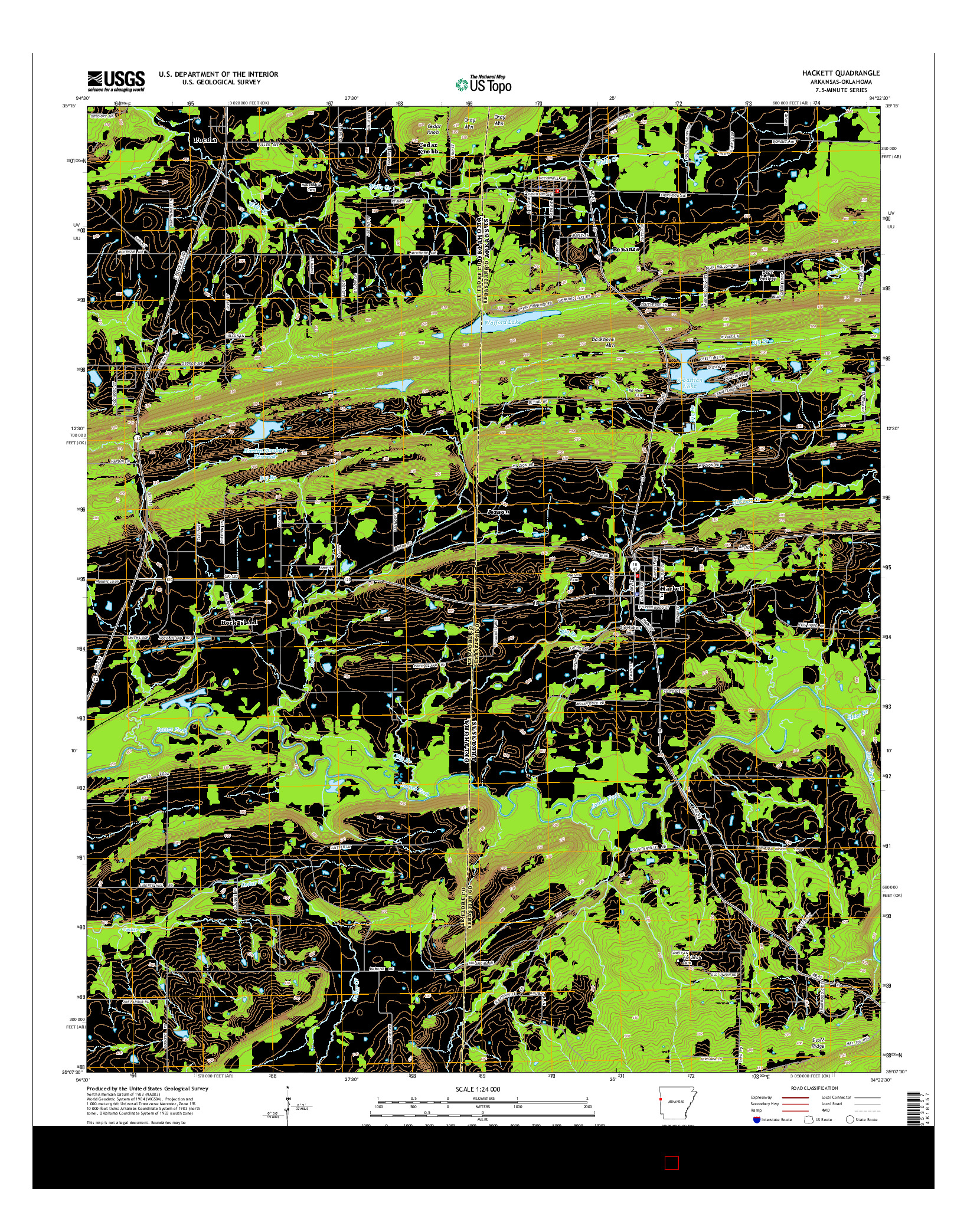 USGS US TOPO 7.5-MINUTE MAP FOR HACKETT, AR-OK 2014