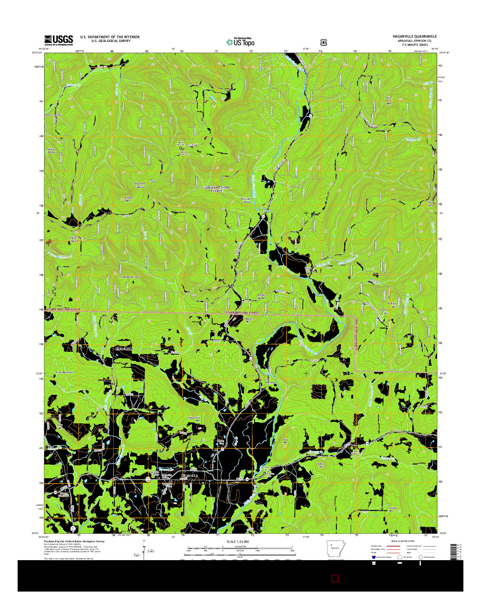 USGS US TOPO 7.5-MINUTE MAP FOR HAGARVILLE, AR 2014