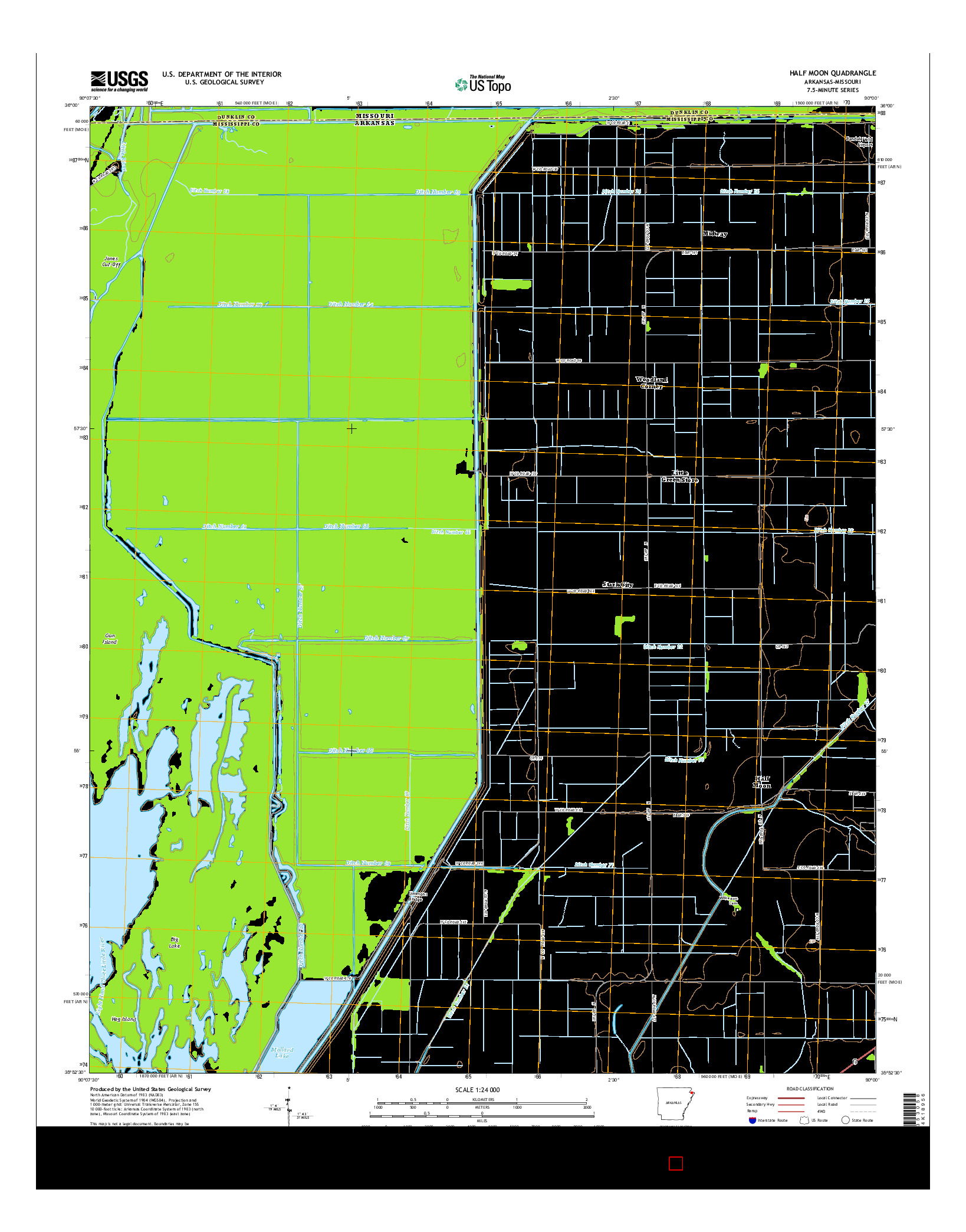 USGS US TOPO 7.5-MINUTE MAP FOR HALF MOON, AR-MO 2014