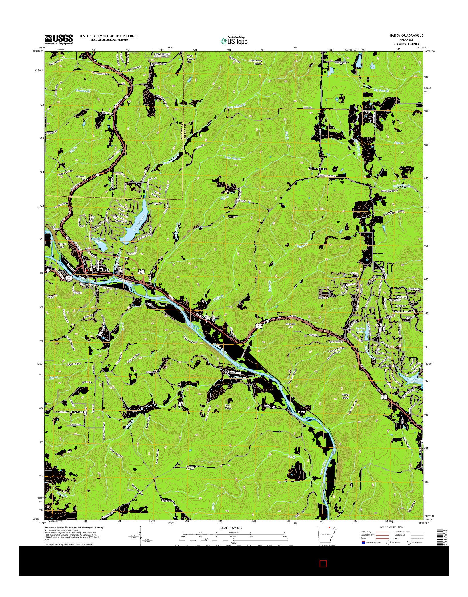 USGS US TOPO 7.5-MINUTE MAP FOR HARDY, AR 2014