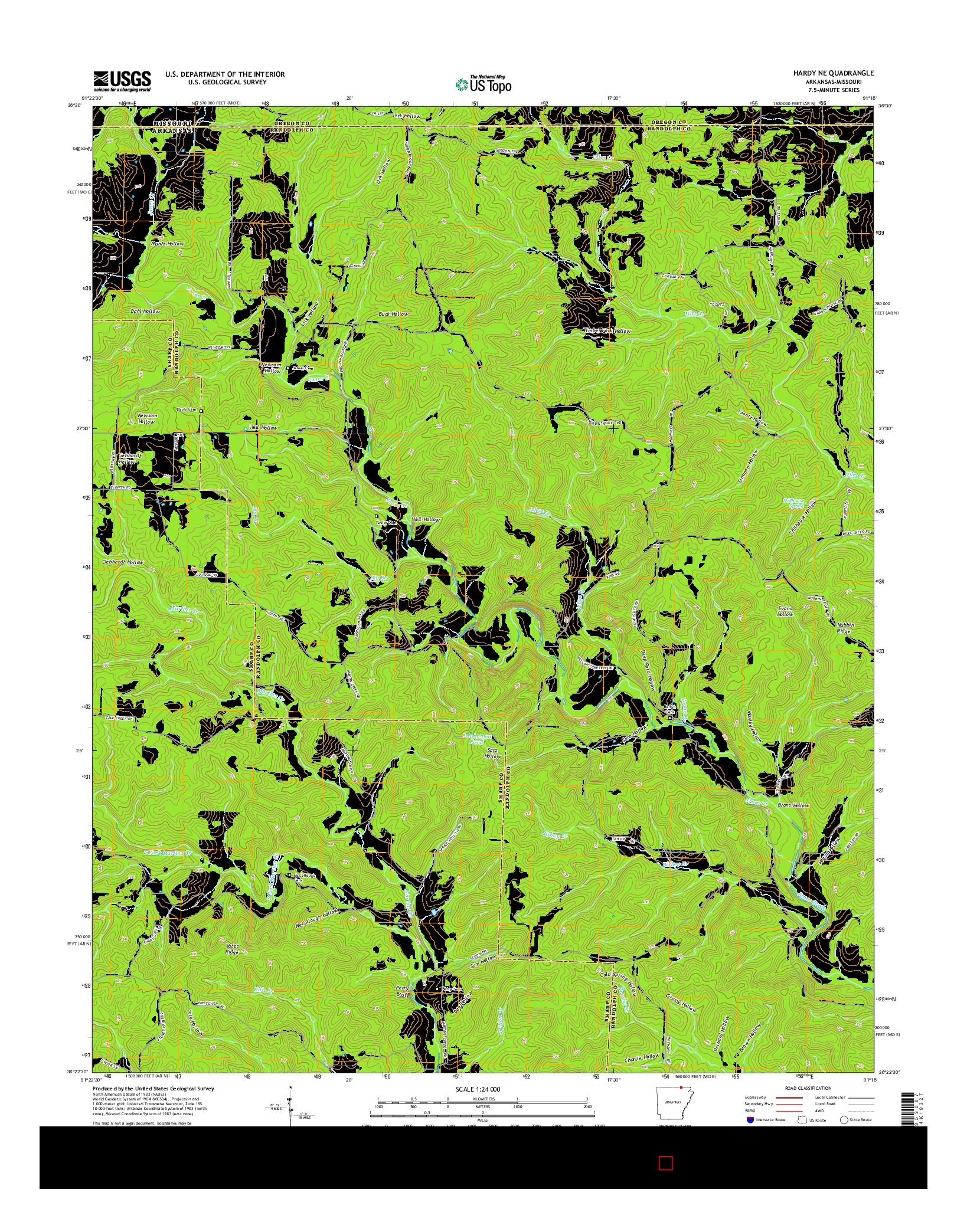 USGS US TOPO 7.5-MINUTE MAP FOR HARDY NE, AR-MO 2014