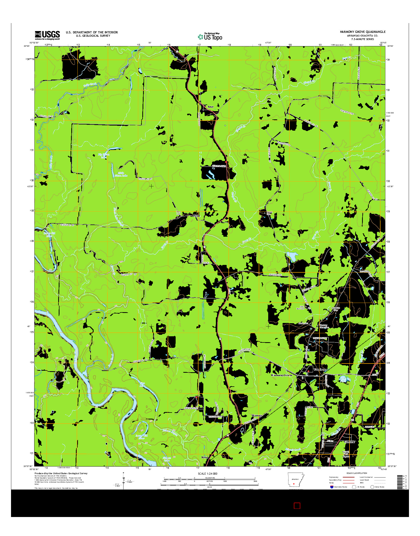 USGS US TOPO 7.5-MINUTE MAP FOR HARMONY GROVE, AR 2014