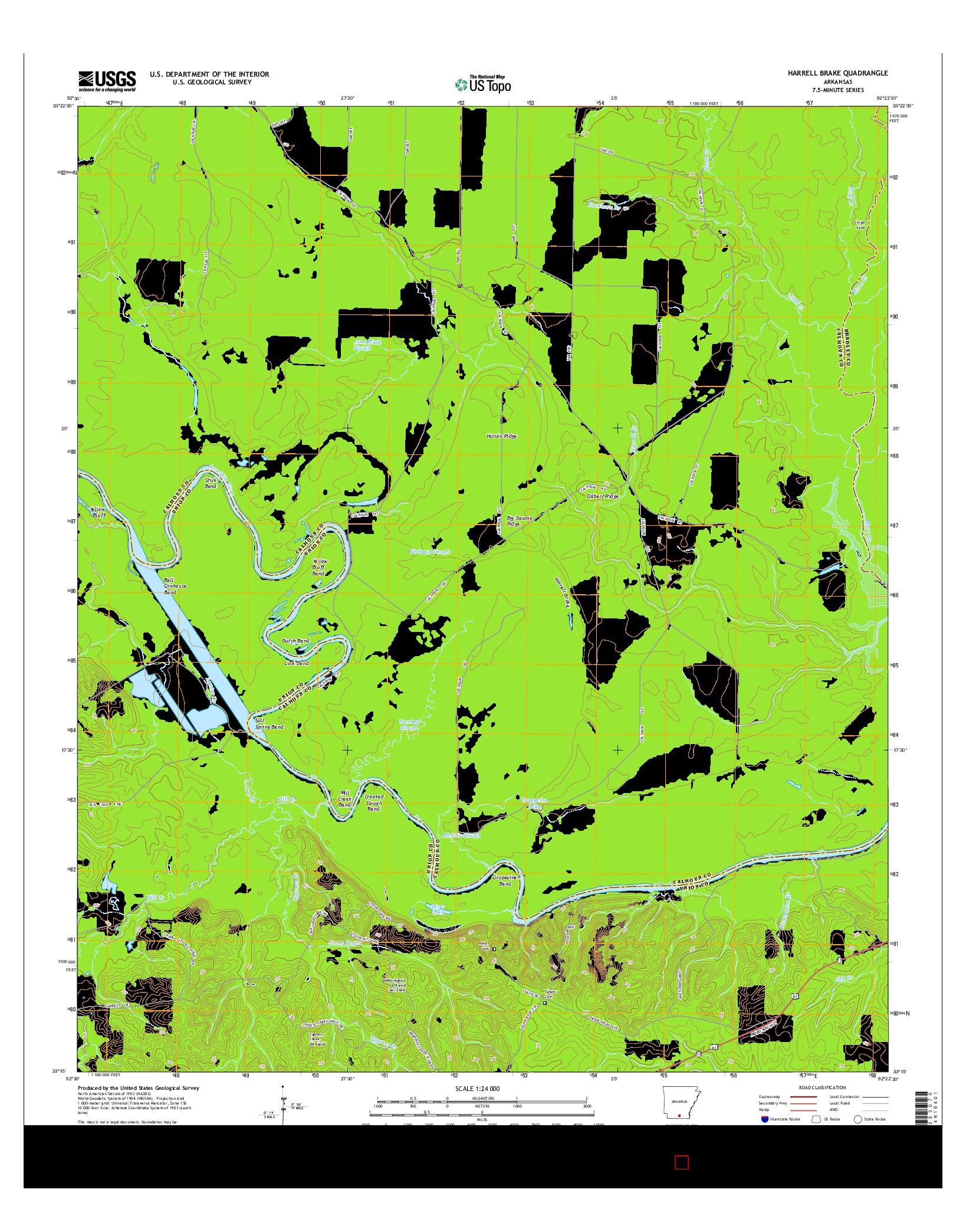 USGS US TOPO 7.5-MINUTE MAP FOR HARRELL BRAKE, AR 2014