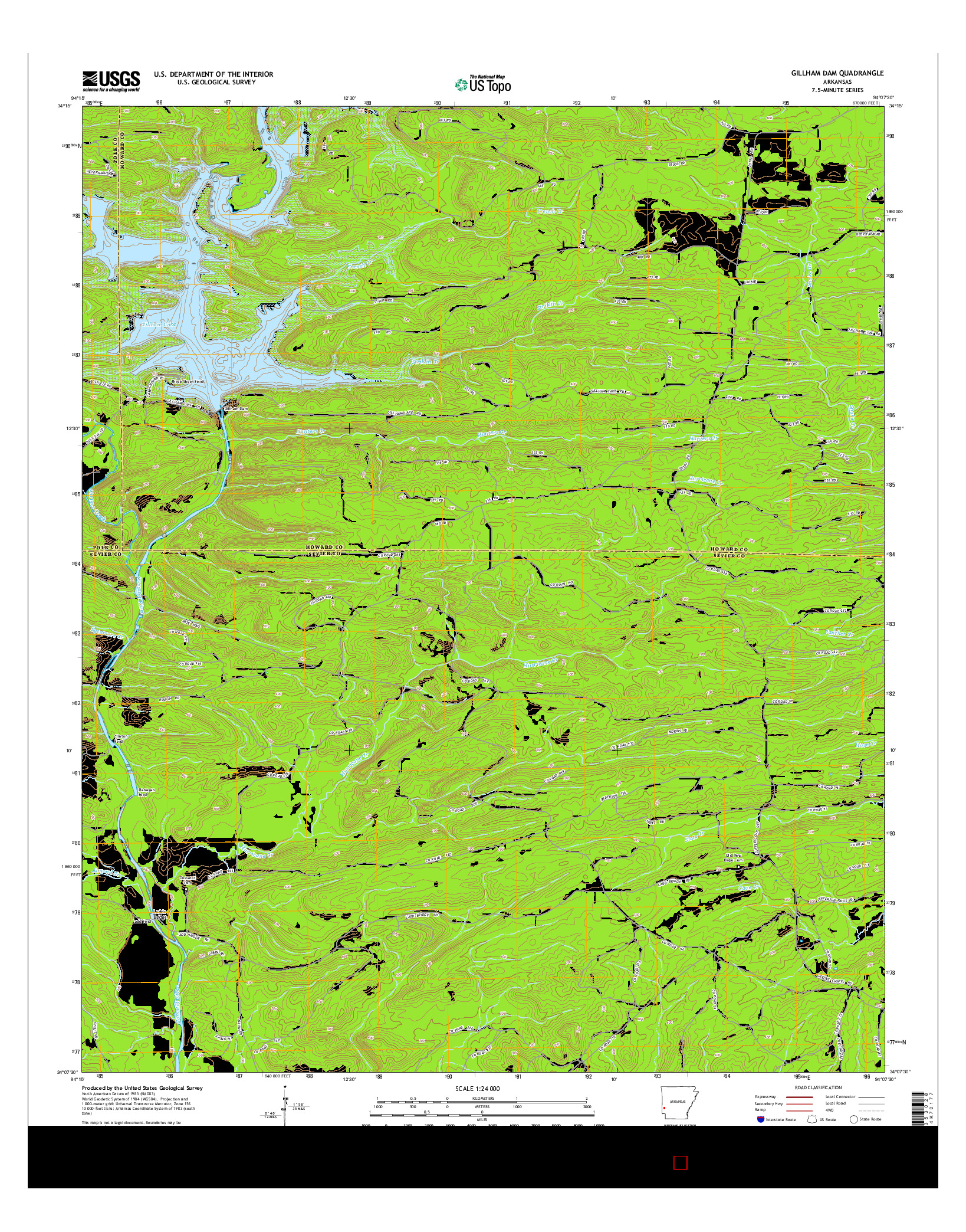 USGS US TOPO 7.5-MINUTE MAP FOR GILLHAM DAM, AR 2014