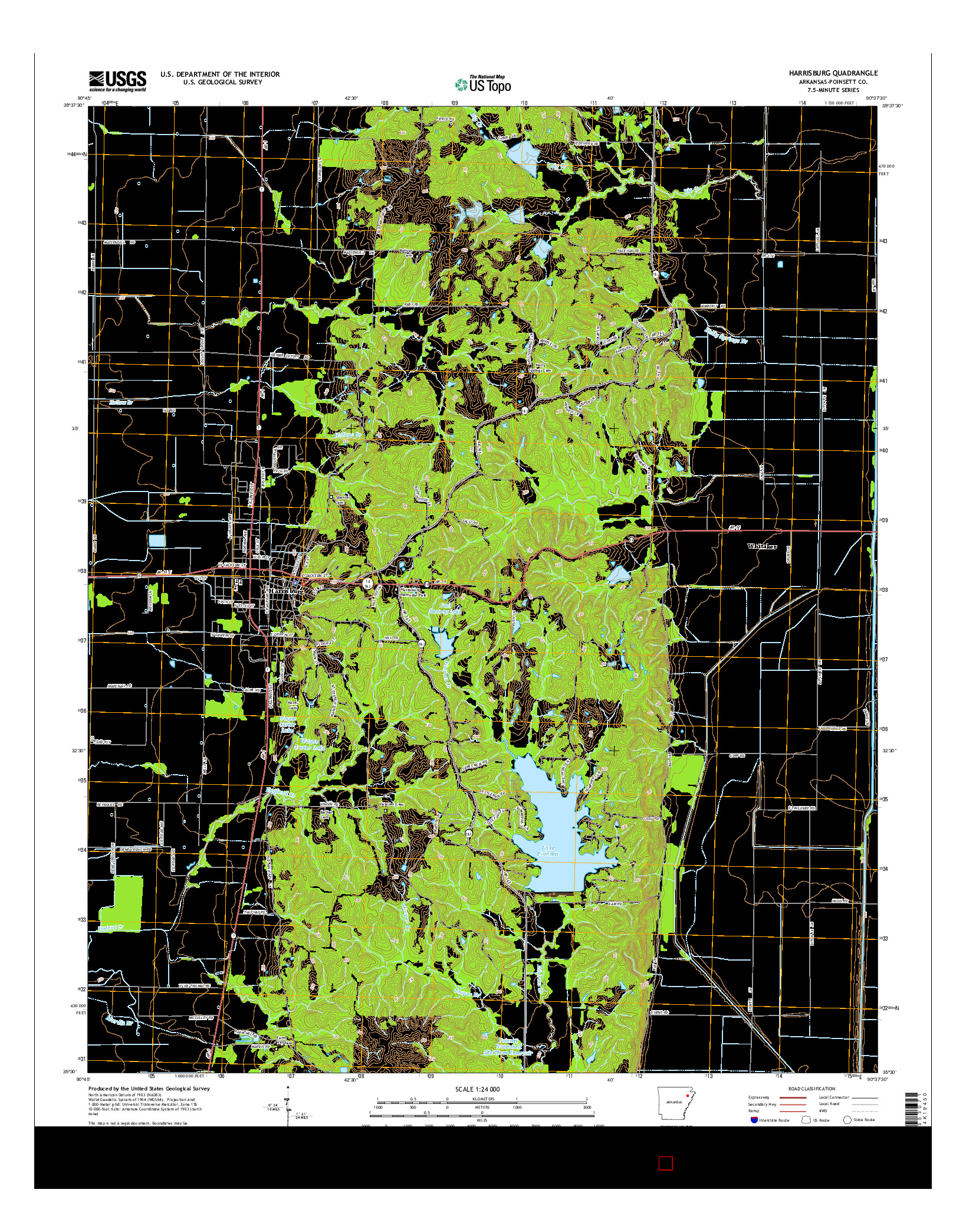 USGS US TOPO 7.5-MINUTE MAP FOR HARRISBURG, AR 2014