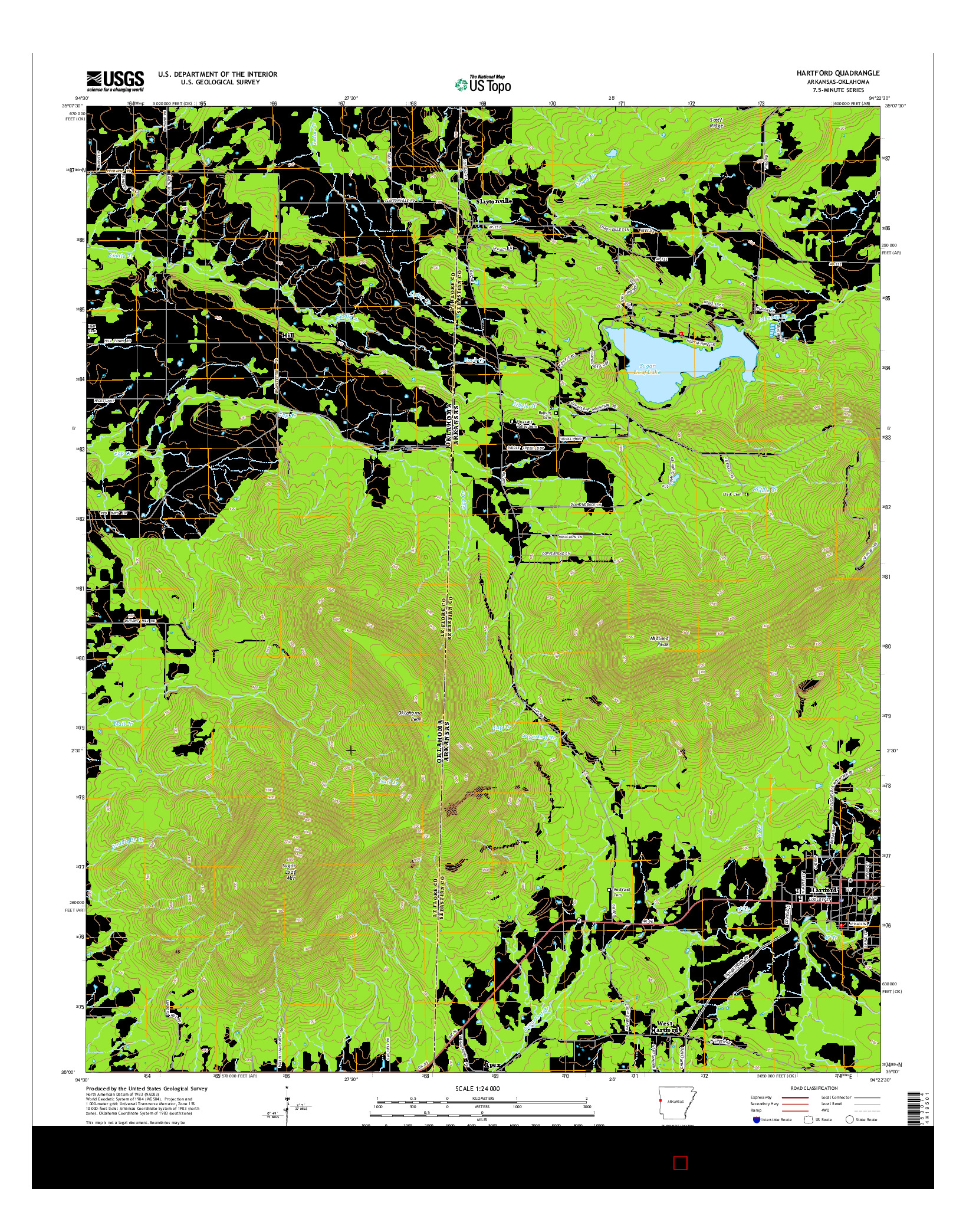USGS US TOPO 7.5-MINUTE MAP FOR HARTFORD, AR-OK 2014