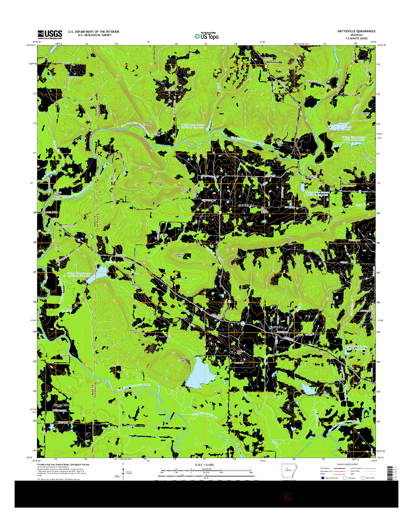 USGS US TOPO 7.5-MINUTE MAP FOR HATTIEVILLE, AR 2014