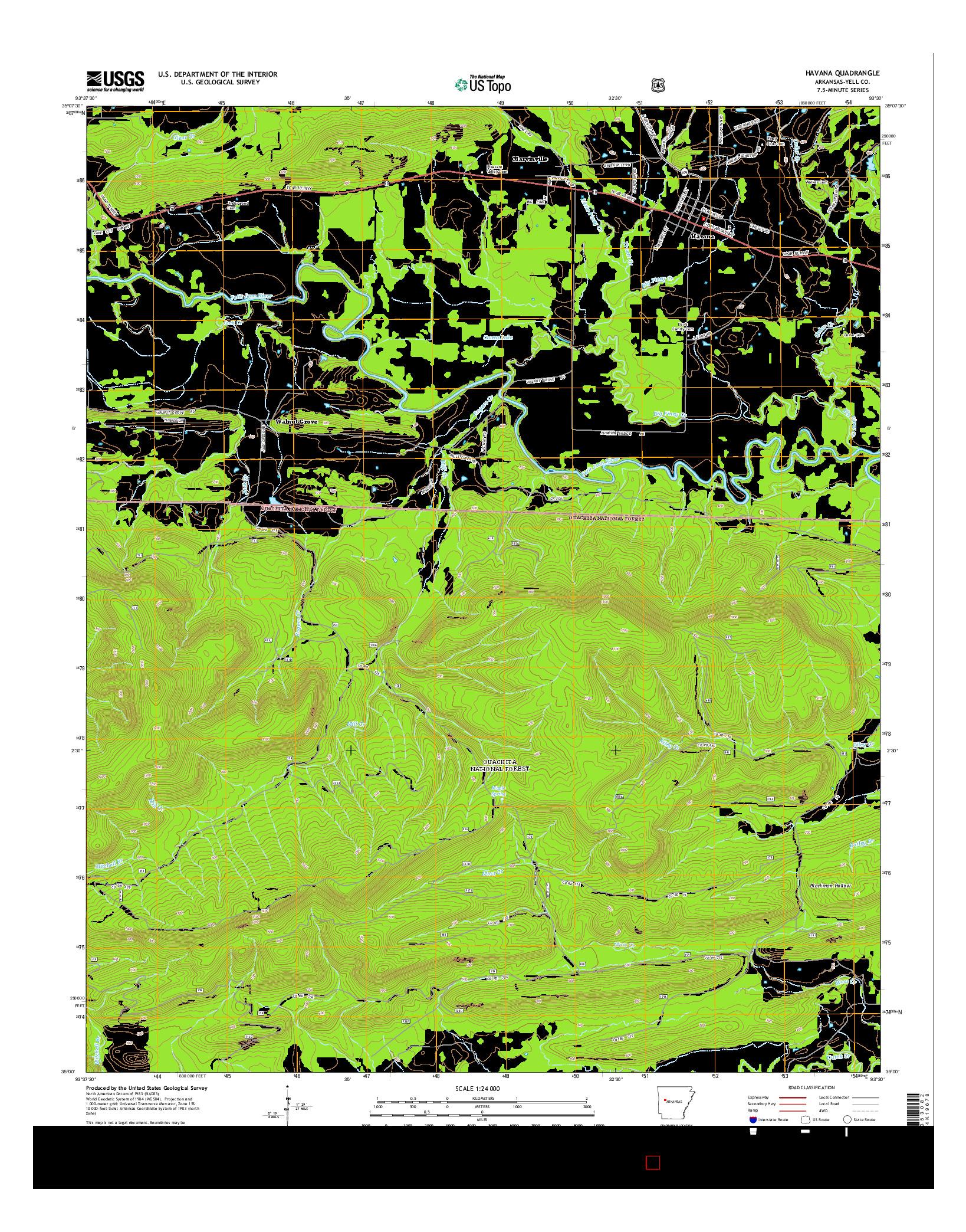 USGS US TOPO 7.5-MINUTE MAP FOR HAVANA, AR 2014