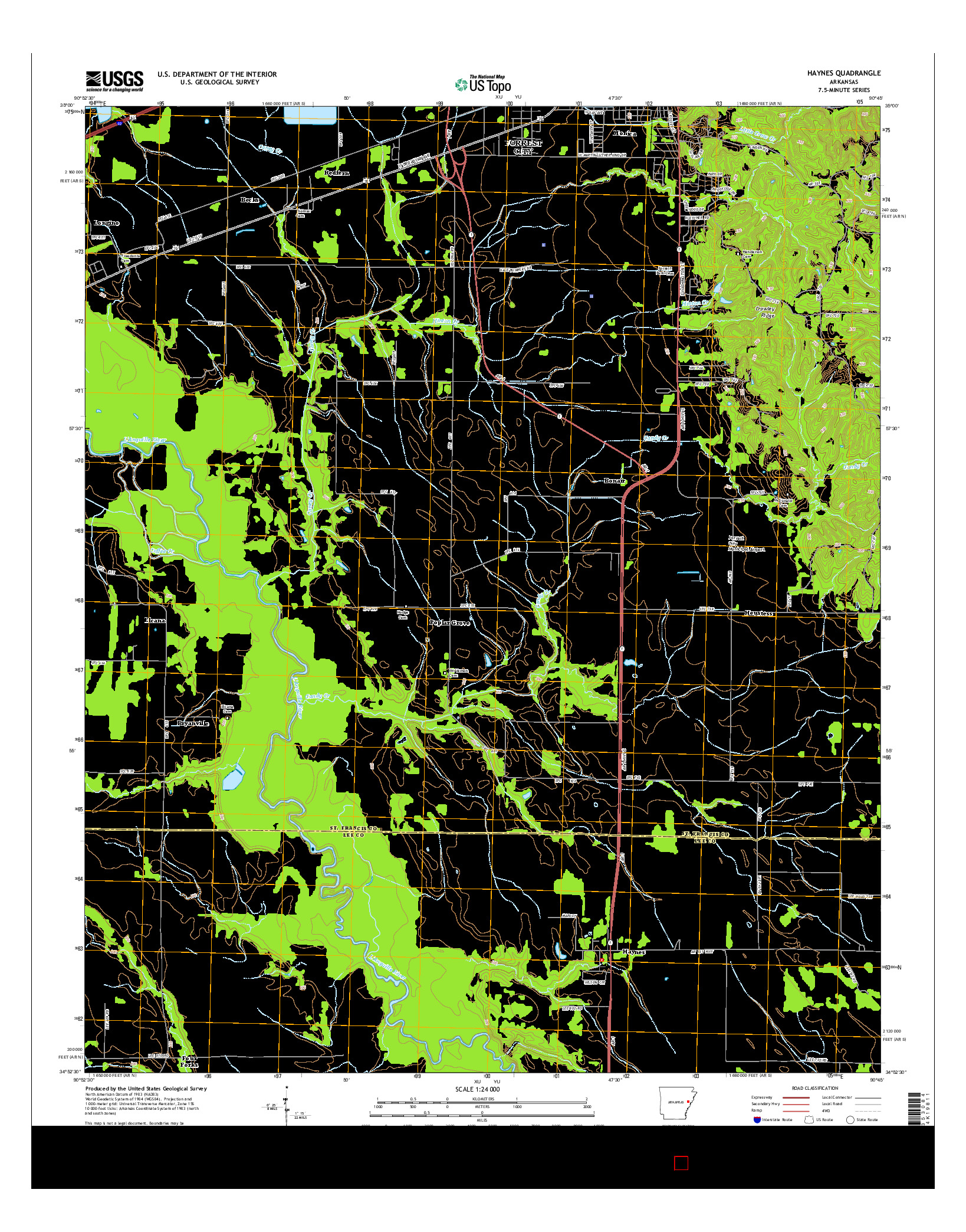 USGS US TOPO 7.5-MINUTE MAP FOR HAYNES, AR 2014