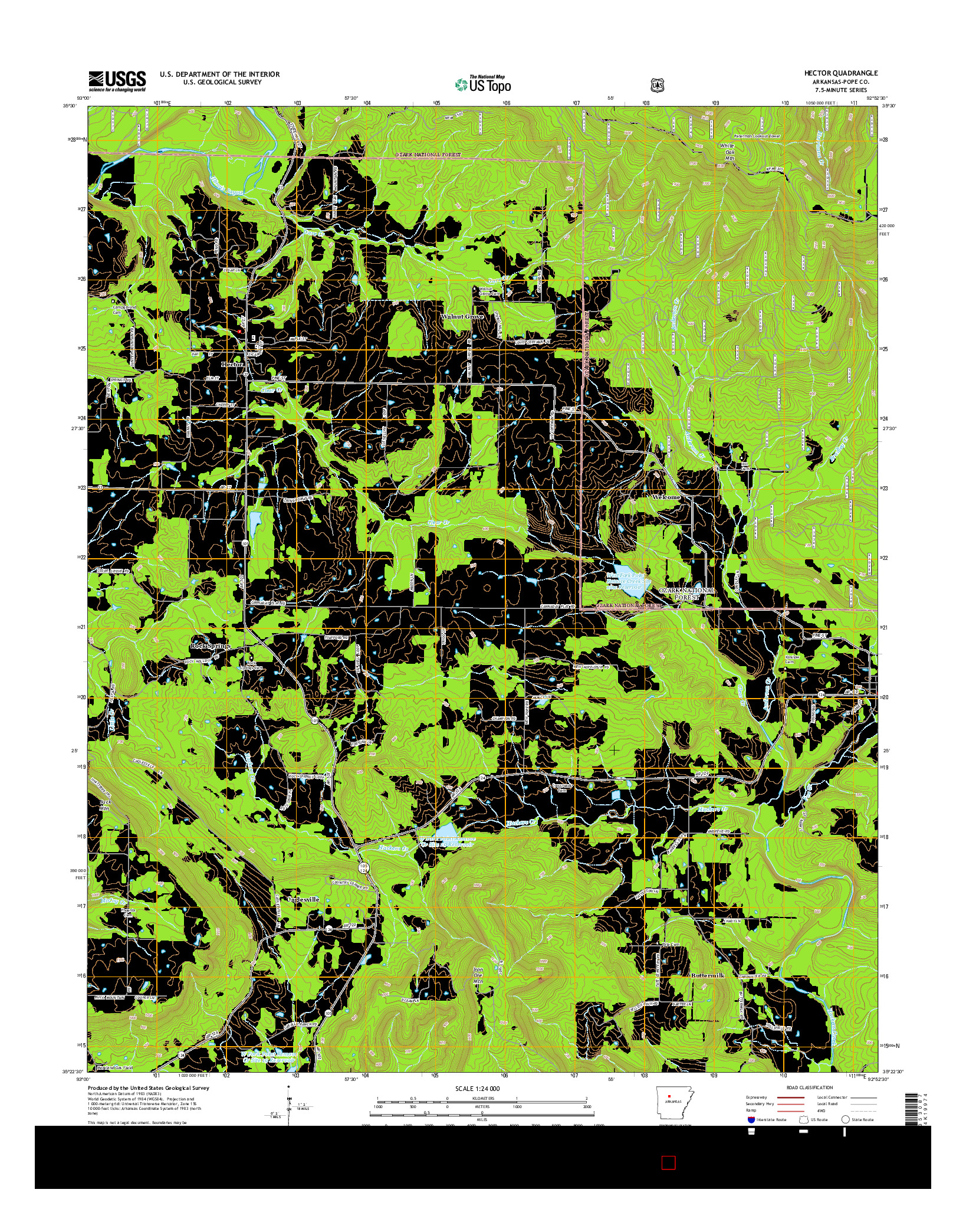 USGS US TOPO 7.5-MINUTE MAP FOR HECTOR, AR 2014