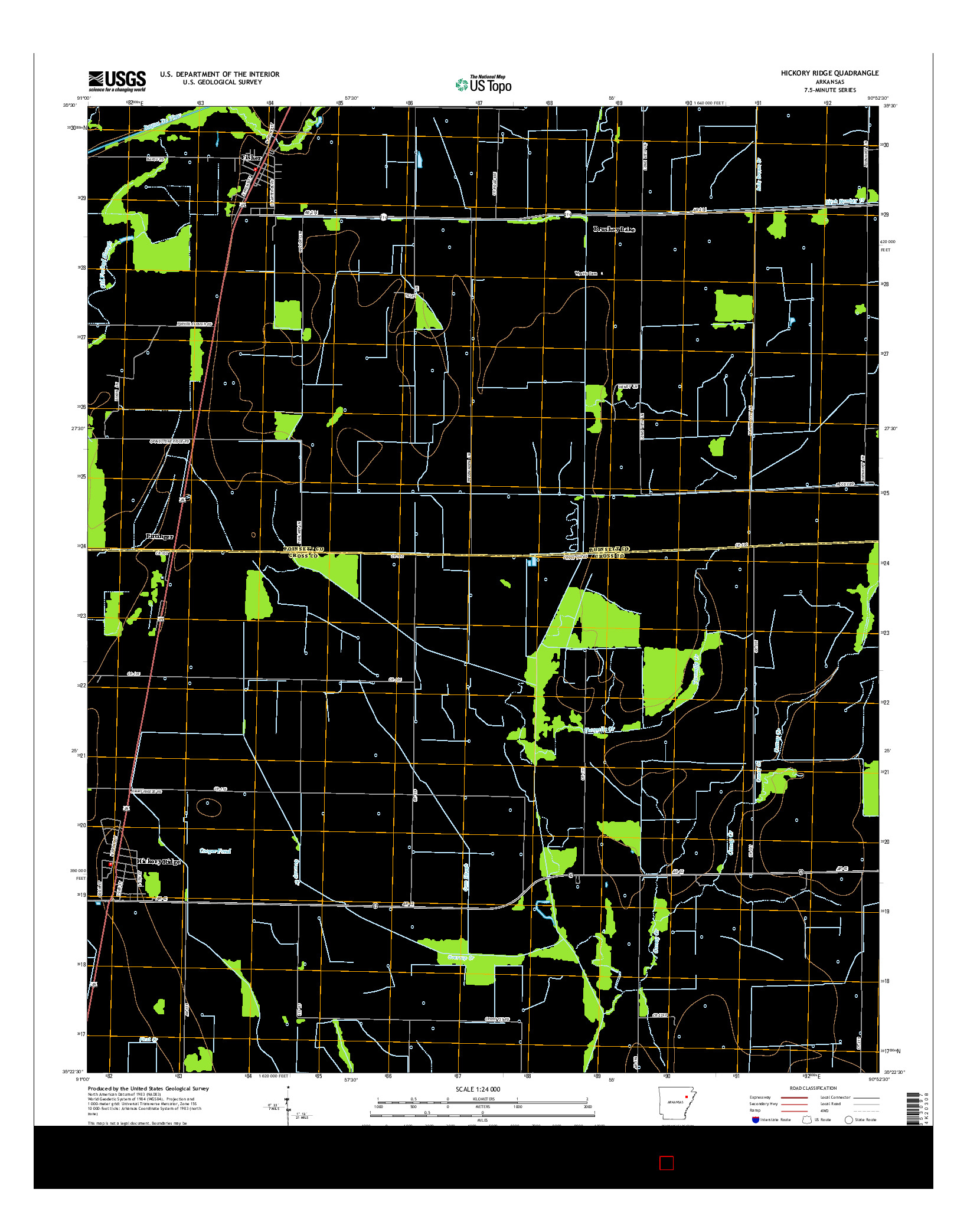 USGS US TOPO 7.5-MINUTE MAP FOR HICKORY RIDGE, AR 2014