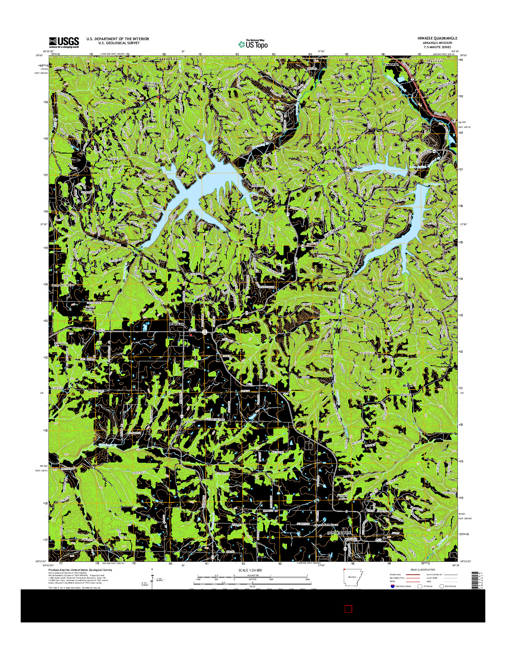 USGS US TOPO 7.5-MINUTE MAP FOR HIWASSE, AR-MO 2014