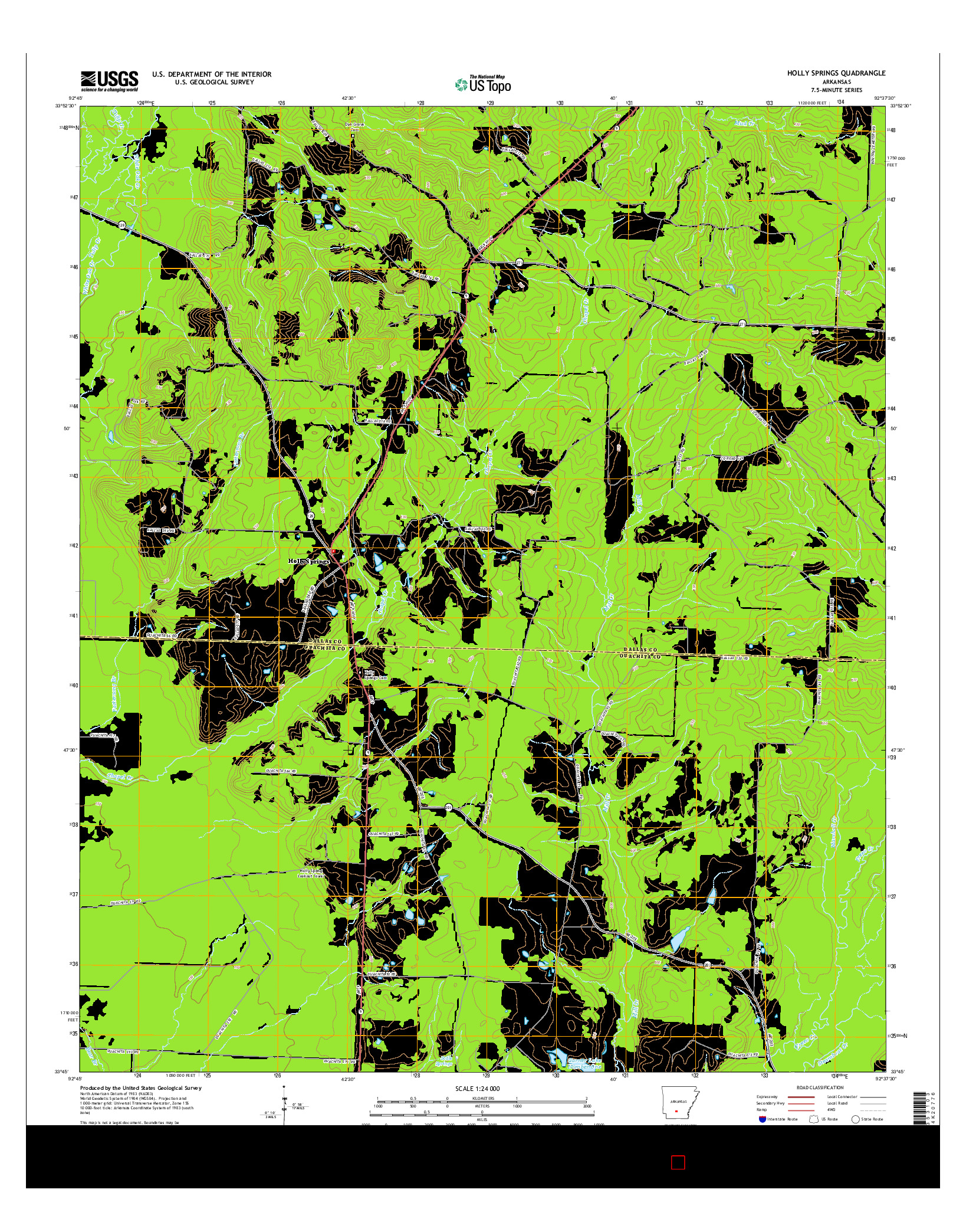 USGS US TOPO 7.5-MINUTE MAP FOR HOLLY SPRINGS, AR 2014