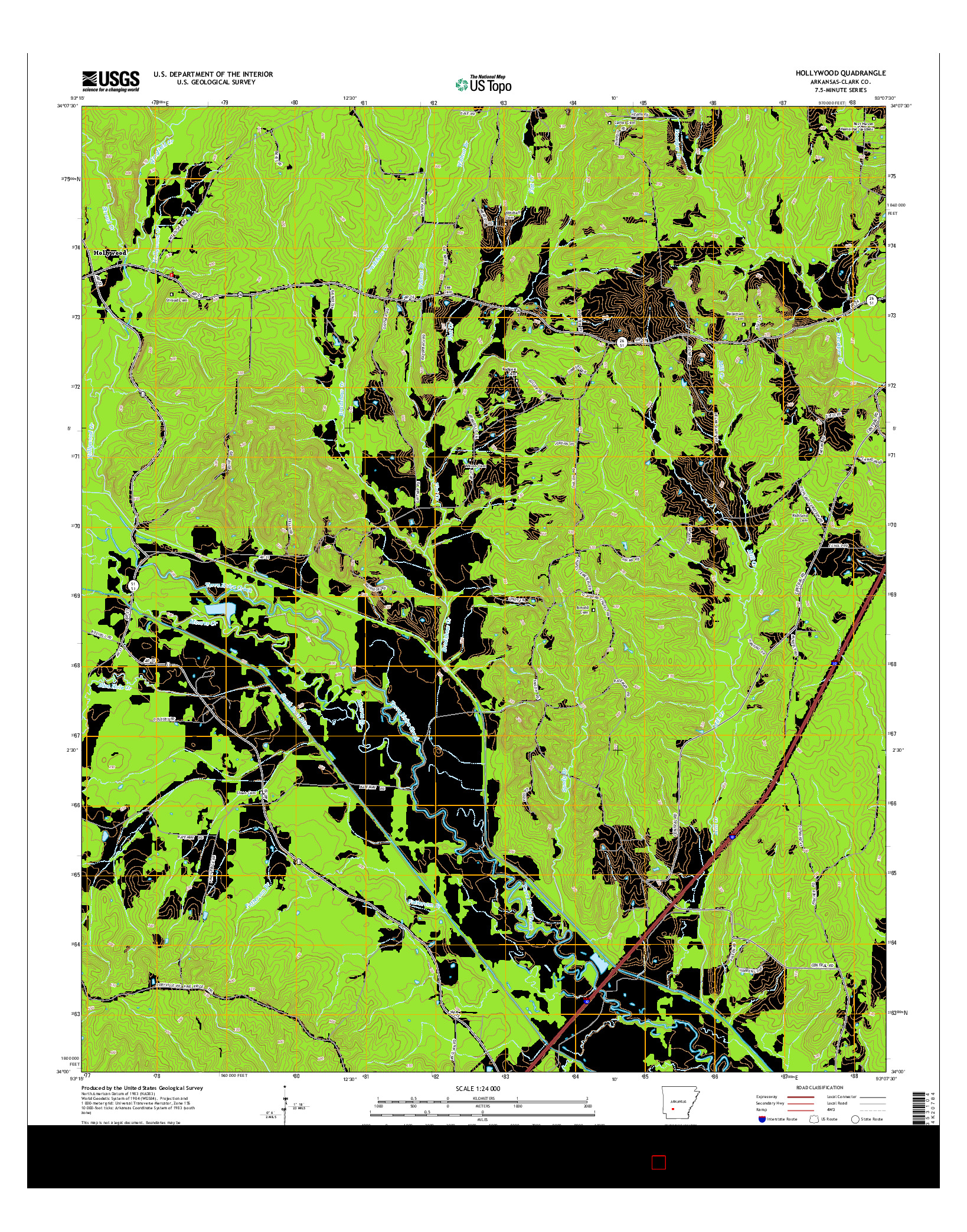 USGS US TOPO 7.5-MINUTE MAP FOR HOLLYWOOD, AR 2014