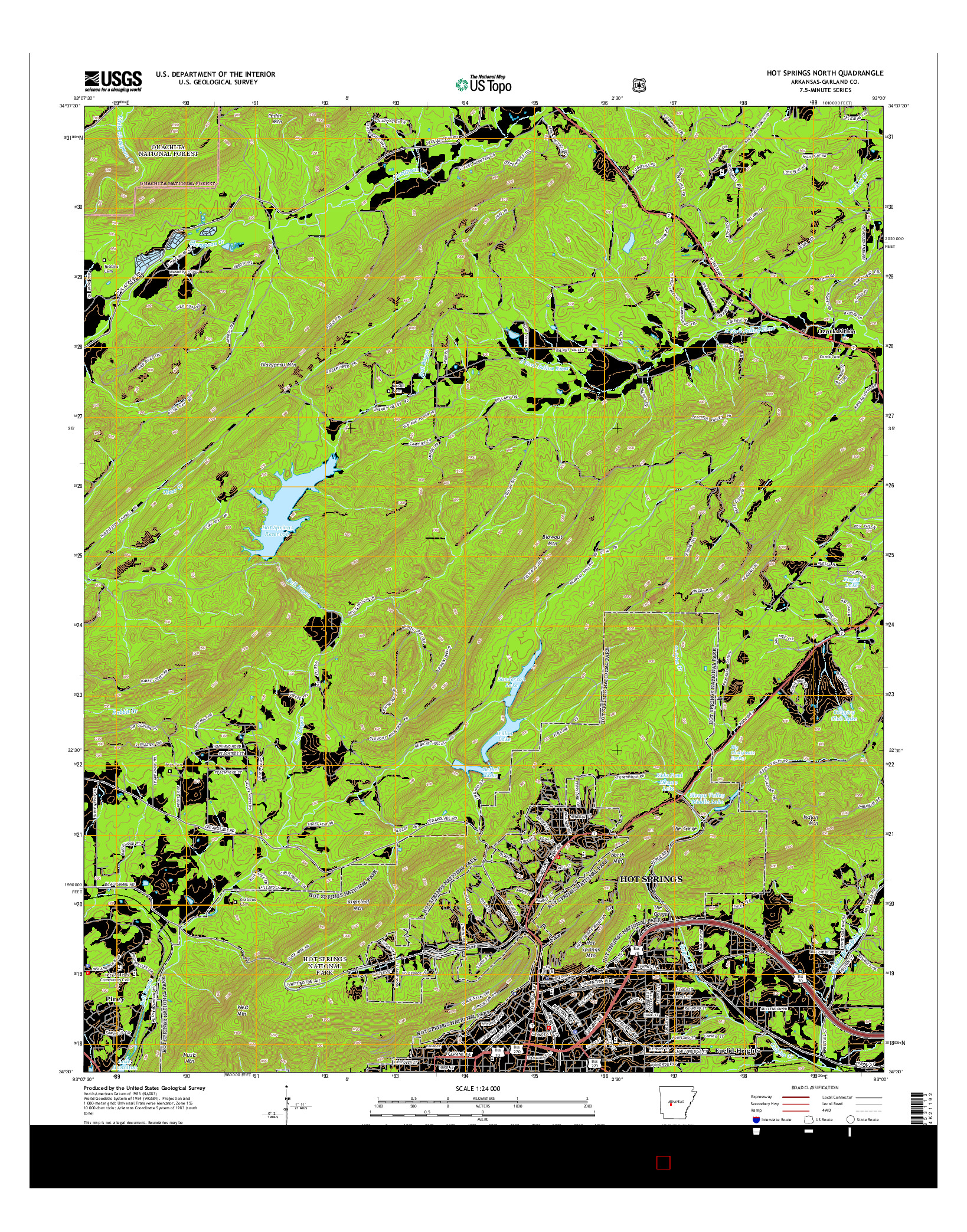 USGS US TOPO 7.5-MINUTE MAP FOR HOT SPRINGS NORTH, AR 2014