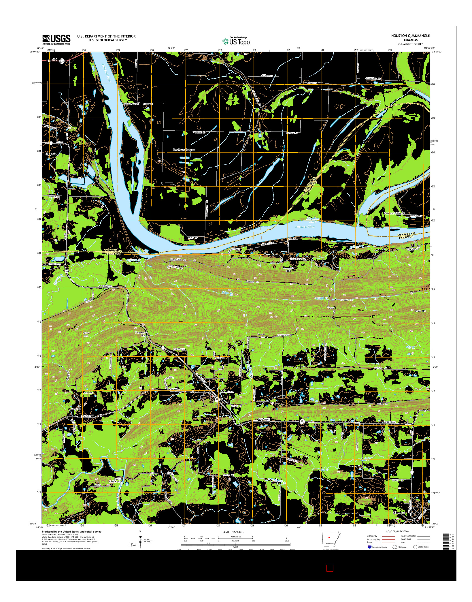 USGS US TOPO 7.5-MINUTE MAP FOR HOUSTON, AR 2014