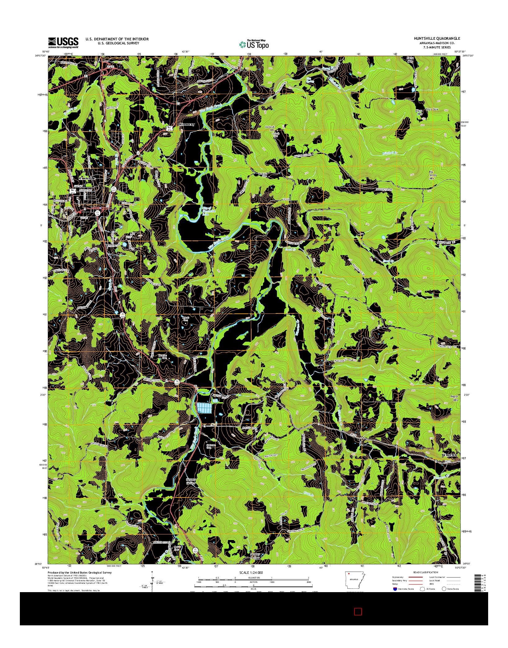 USGS US TOPO 7.5-MINUTE MAP FOR HUNTSVILLE, AR 2014