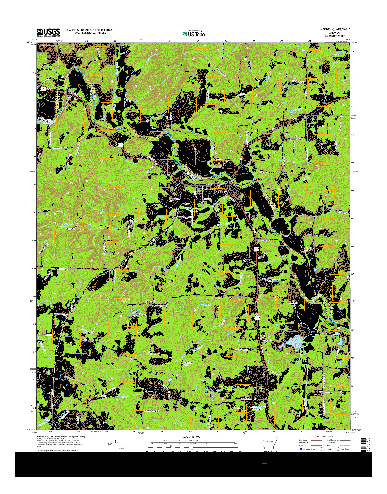 USGS US TOPO 7.5-MINUTE MAP FOR IMBODEN, AR 2014
