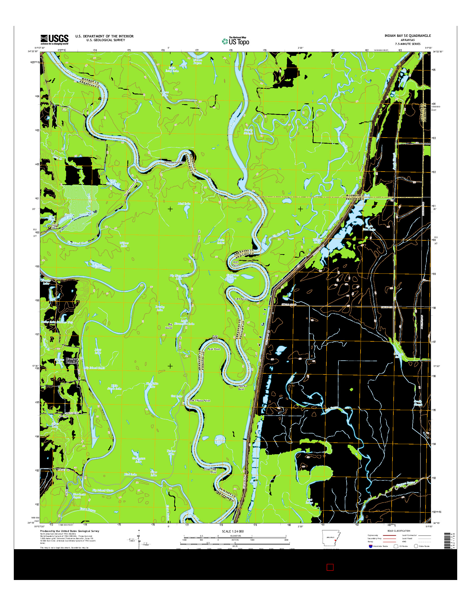 USGS US TOPO 7.5-MINUTE MAP FOR INDIAN BAY SE, AR 2014