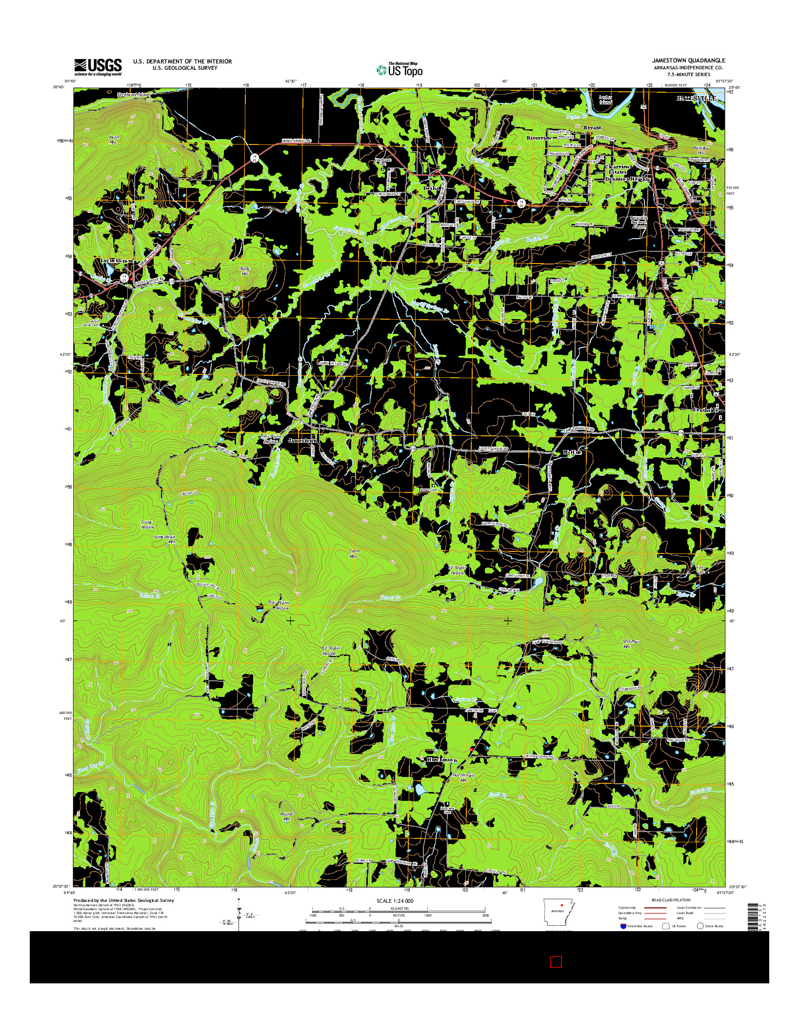 USGS US TOPO 7.5-MINUTE MAP FOR JAMESTOWN, AR 2014