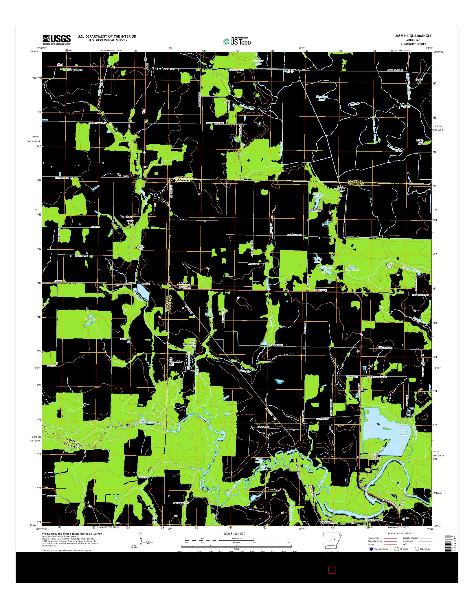 USGS US TOPO 7.5-MINUTE MAP FOR JASMINE, AR 2014