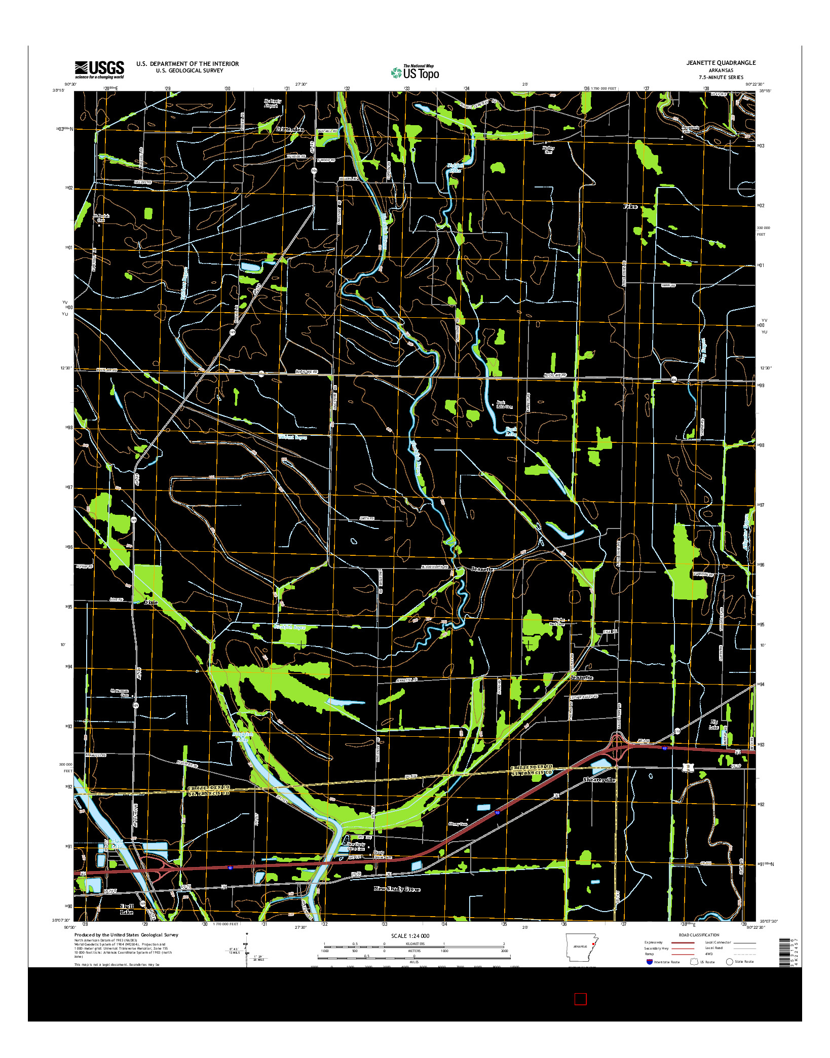 USGS US TOPO 7.5-MINUTE MAP FOR JEANETTE, AR 2014