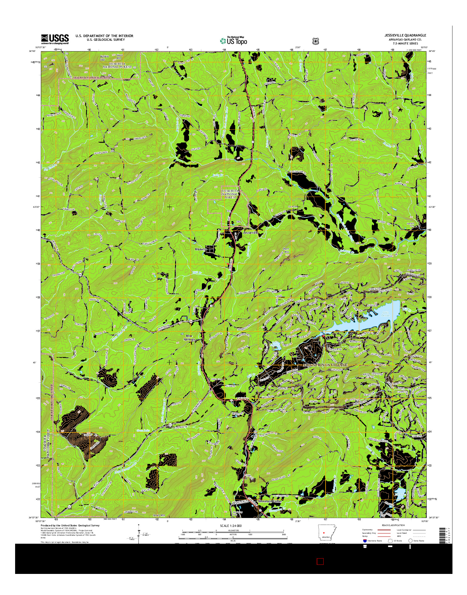 USGS US TOPO 7.5-MINUTE MAP FOR JESSIEVILLE, AR 2014