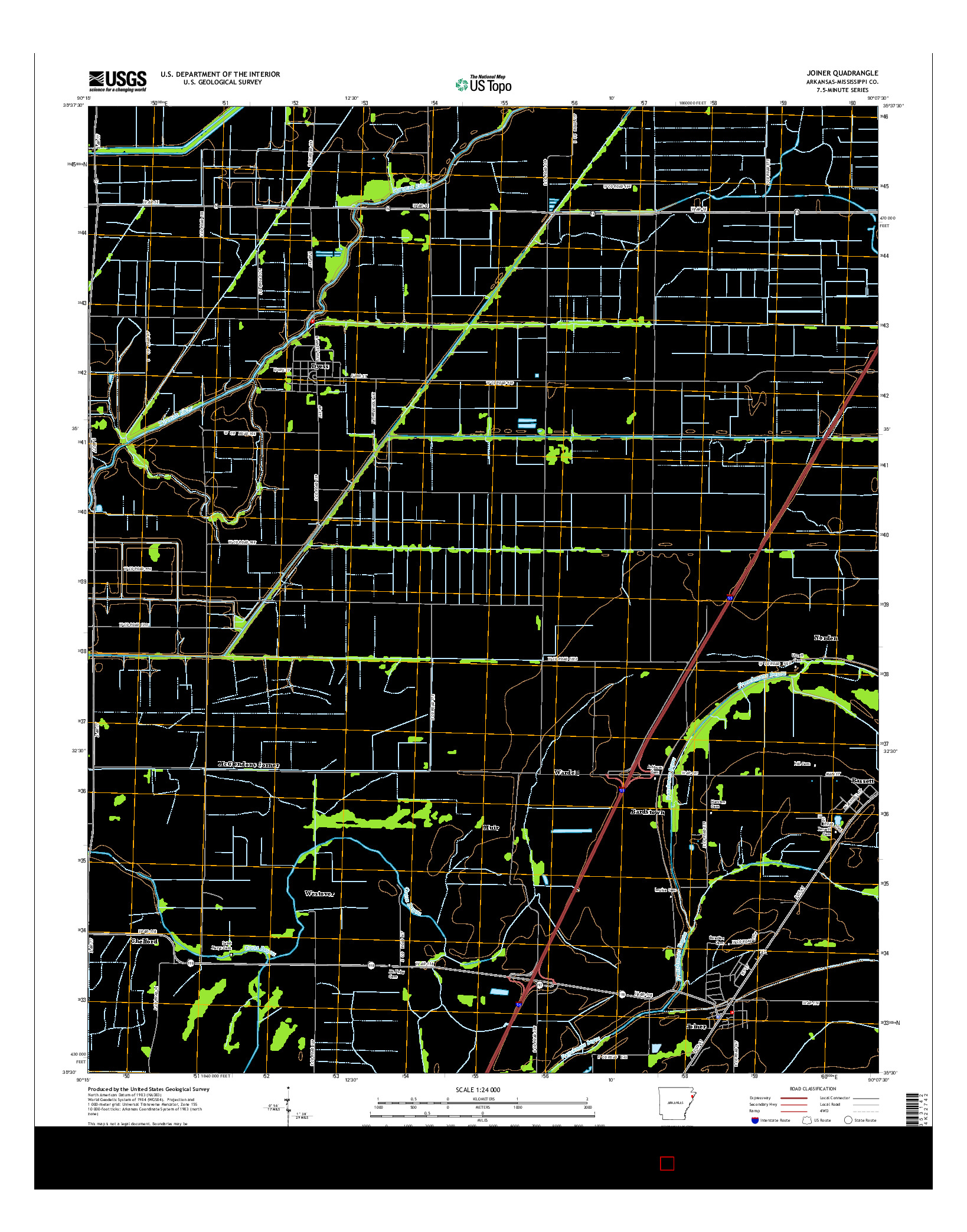 USGS US TOPO 7.5-MINUTE MAP FOR JOINER, AR 2014