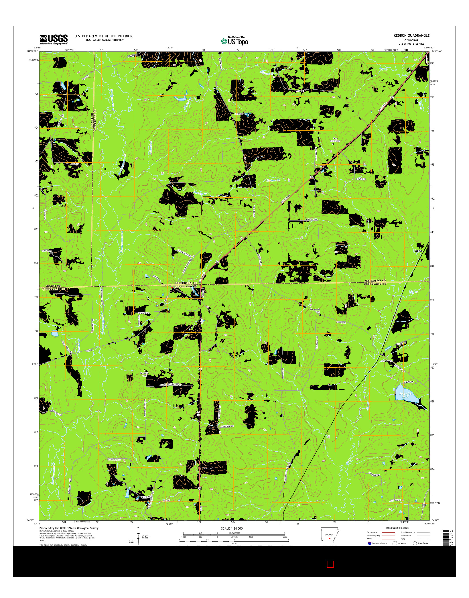 USGS US TOPO 7.5-MINUTE MAP FOR KEDRON, AR 2014