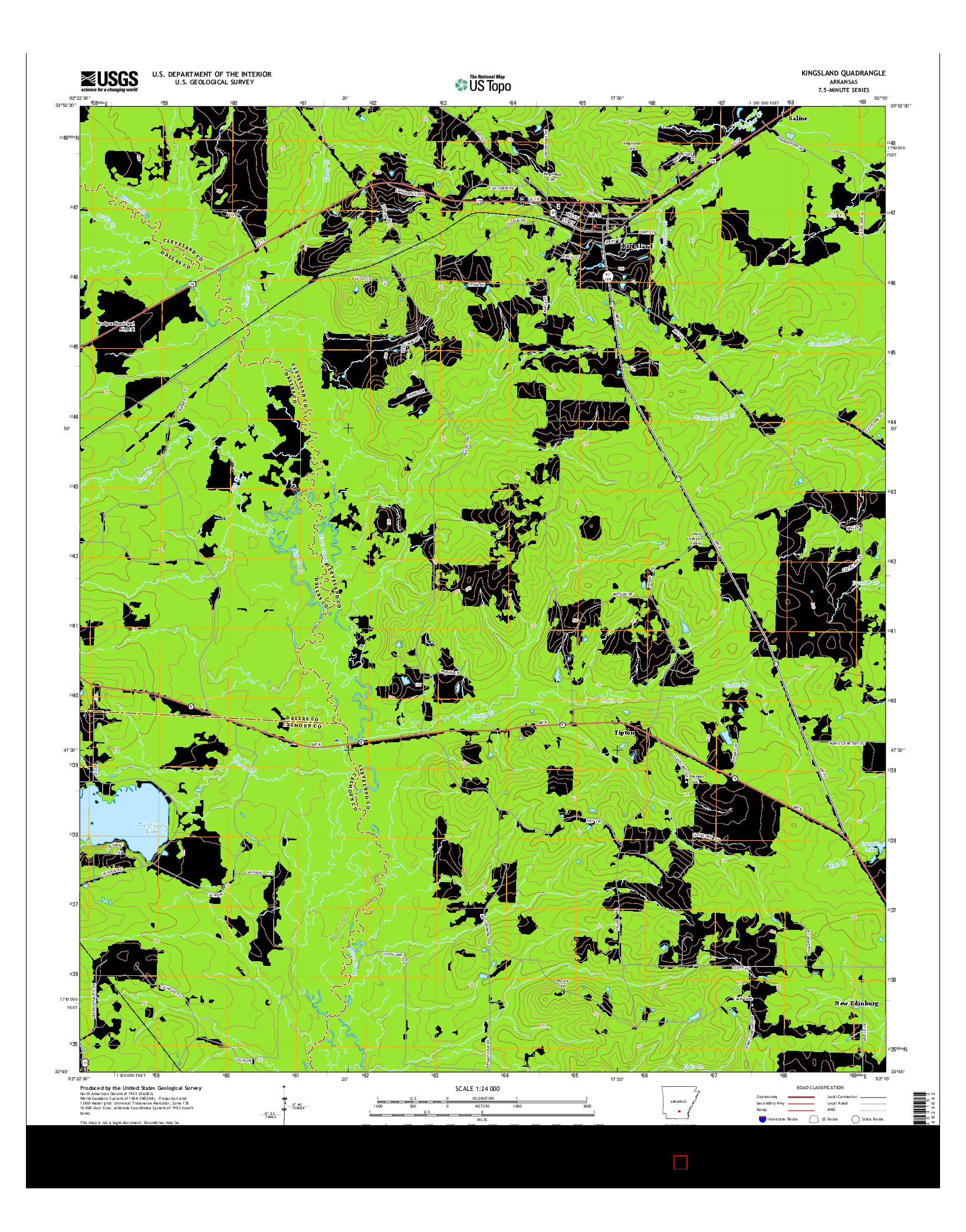 USGS US TOPO 7.5-MINUTE MAP FOR KINGSLAND, AR 2014