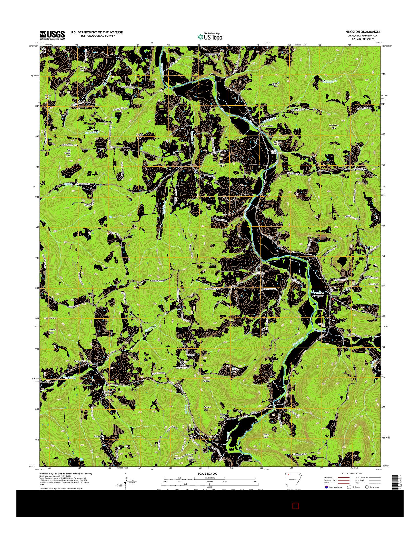 USGS US TOPO 7.5-MINUTE MAP FOR KINGSTON, AR 2014