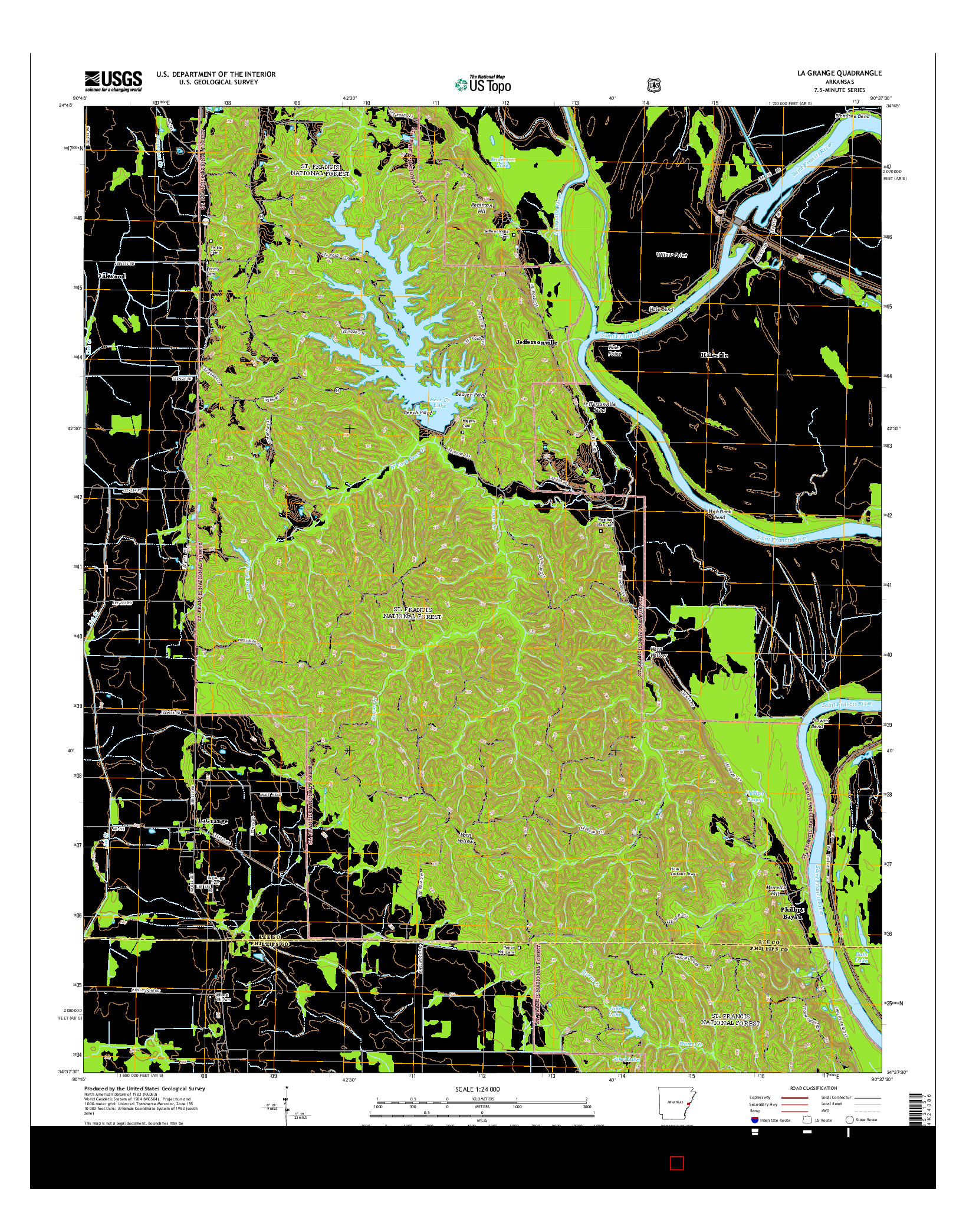 USGS US TOPO 7.5-MINUTE MAP FOR LA GRANGE, AR 2014