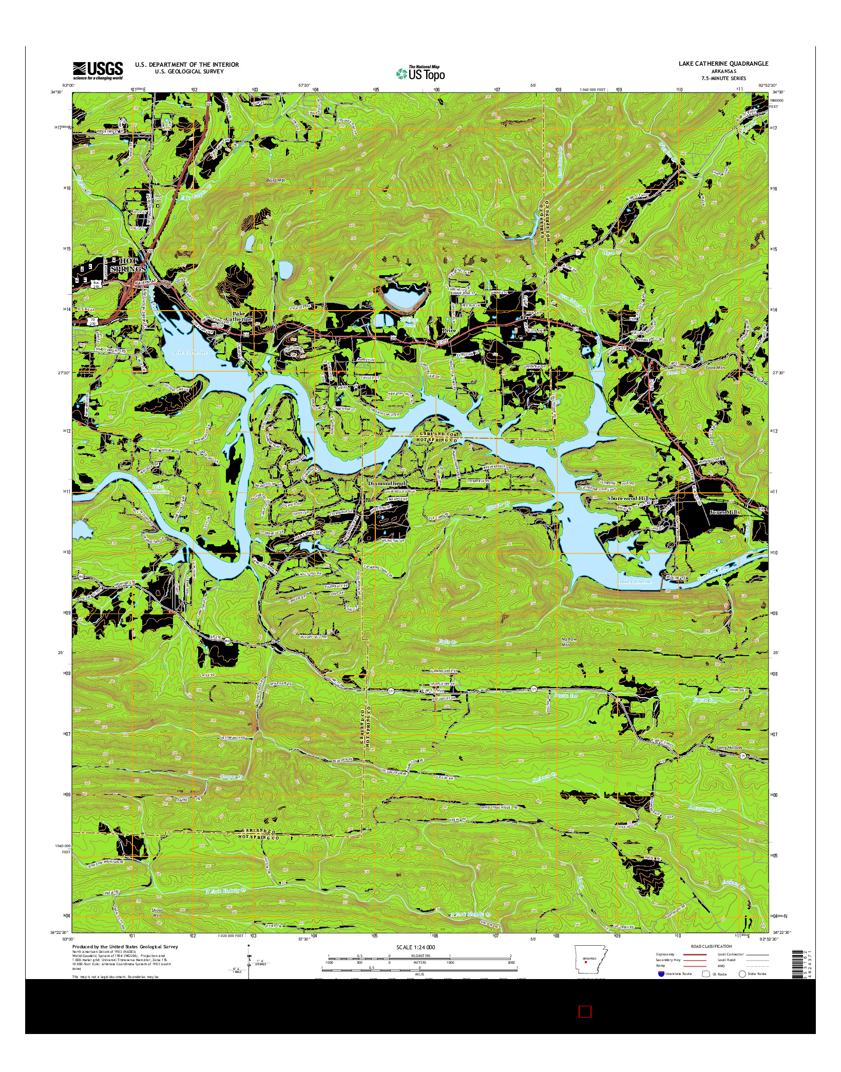 USGS US TOPO 7.5-MINUTE MAP FOR LAKE CATHERINE, AR 2014