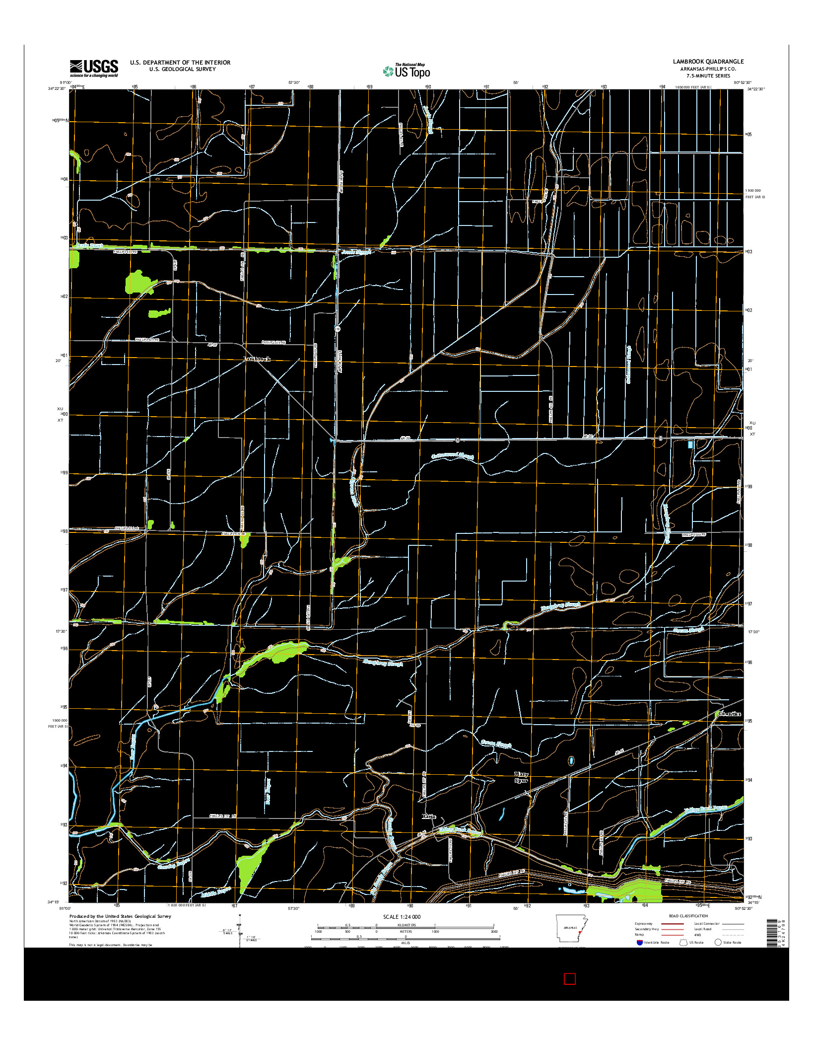 USGS US TOPO 7.5-MINUTE MAP FOR LAMBROOK, AR 2014
