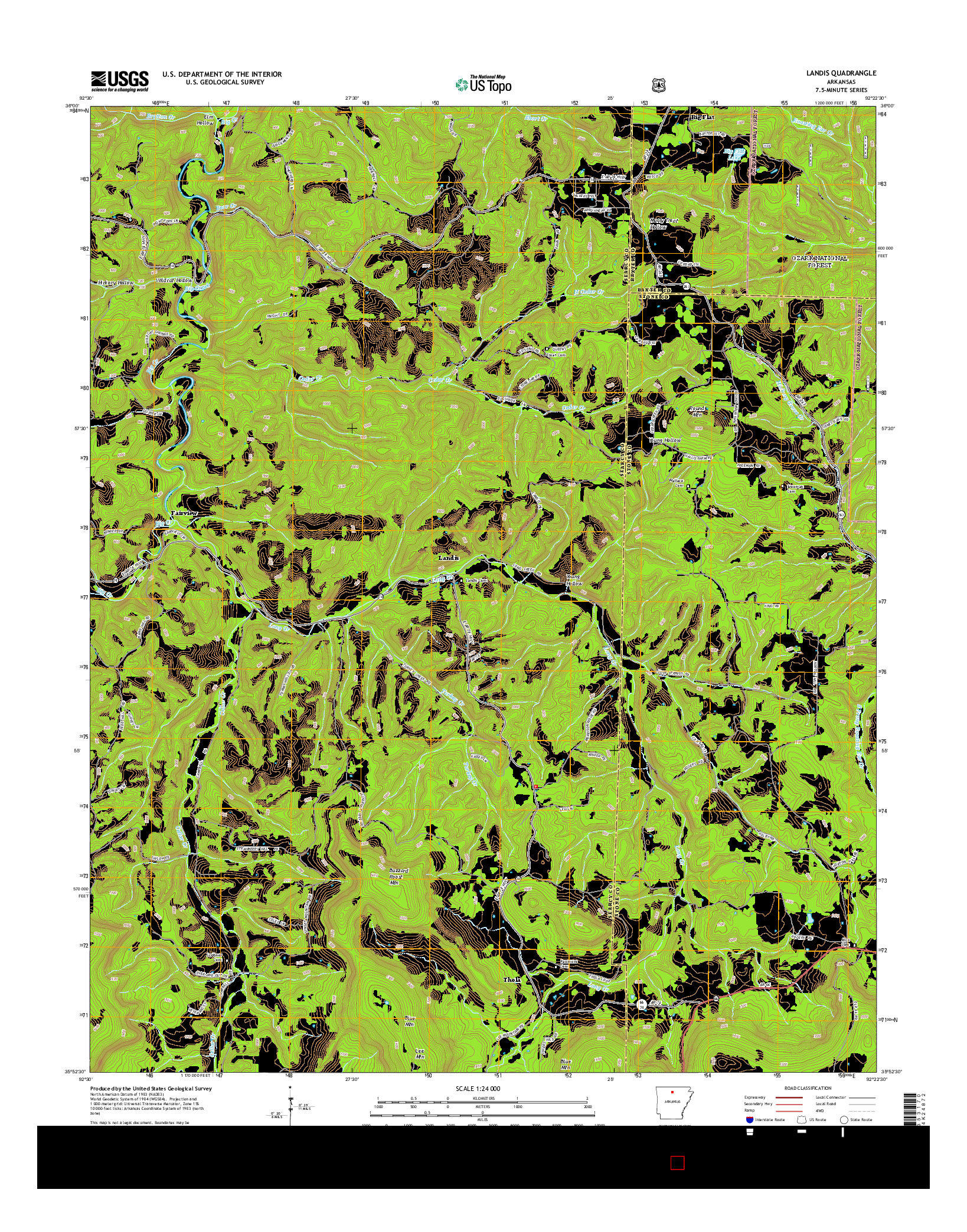 USGS US TOPO 7.5-MINUTE MAP FOR LANDIS, AR 2014
