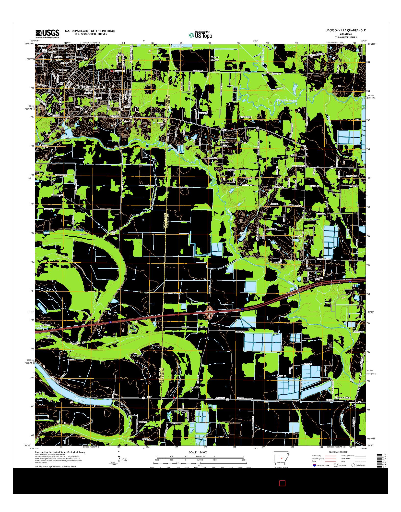USGS US TOPO 7.5-MINUTE MAP FOR JACKSONVILLE, AR 2014