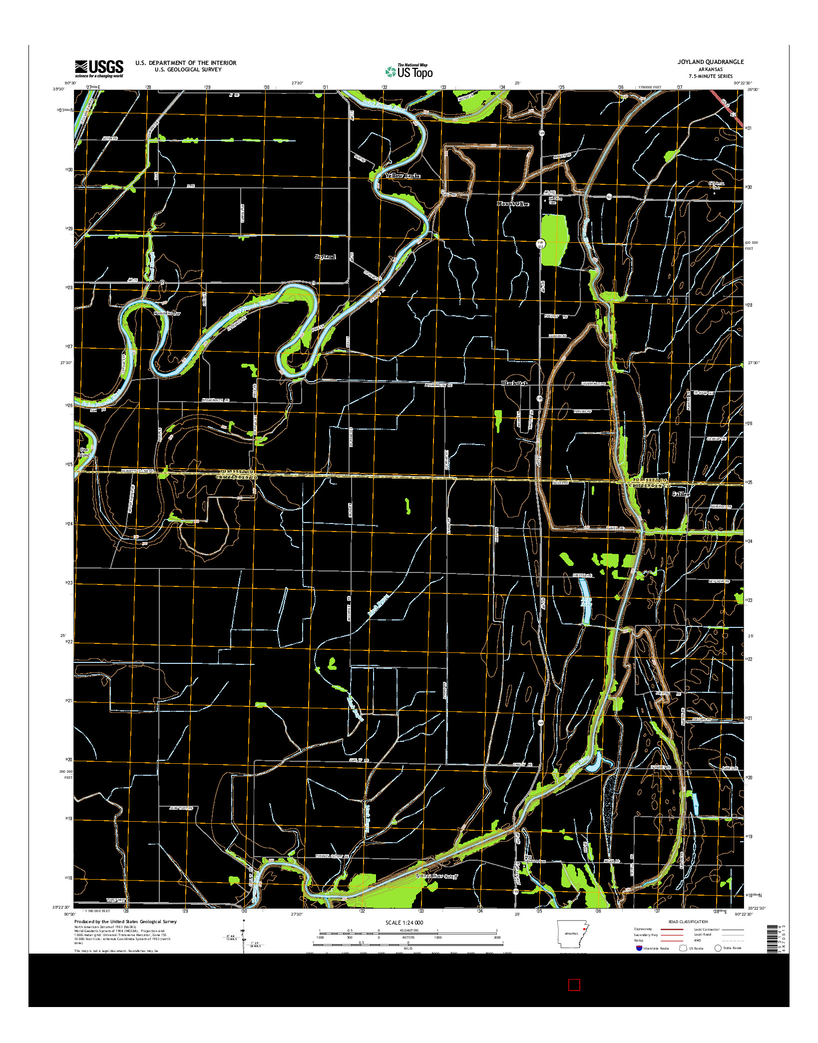 USGS US TOPO 7.5-MINUTE MAP FOR JOYLAND, AR 2014