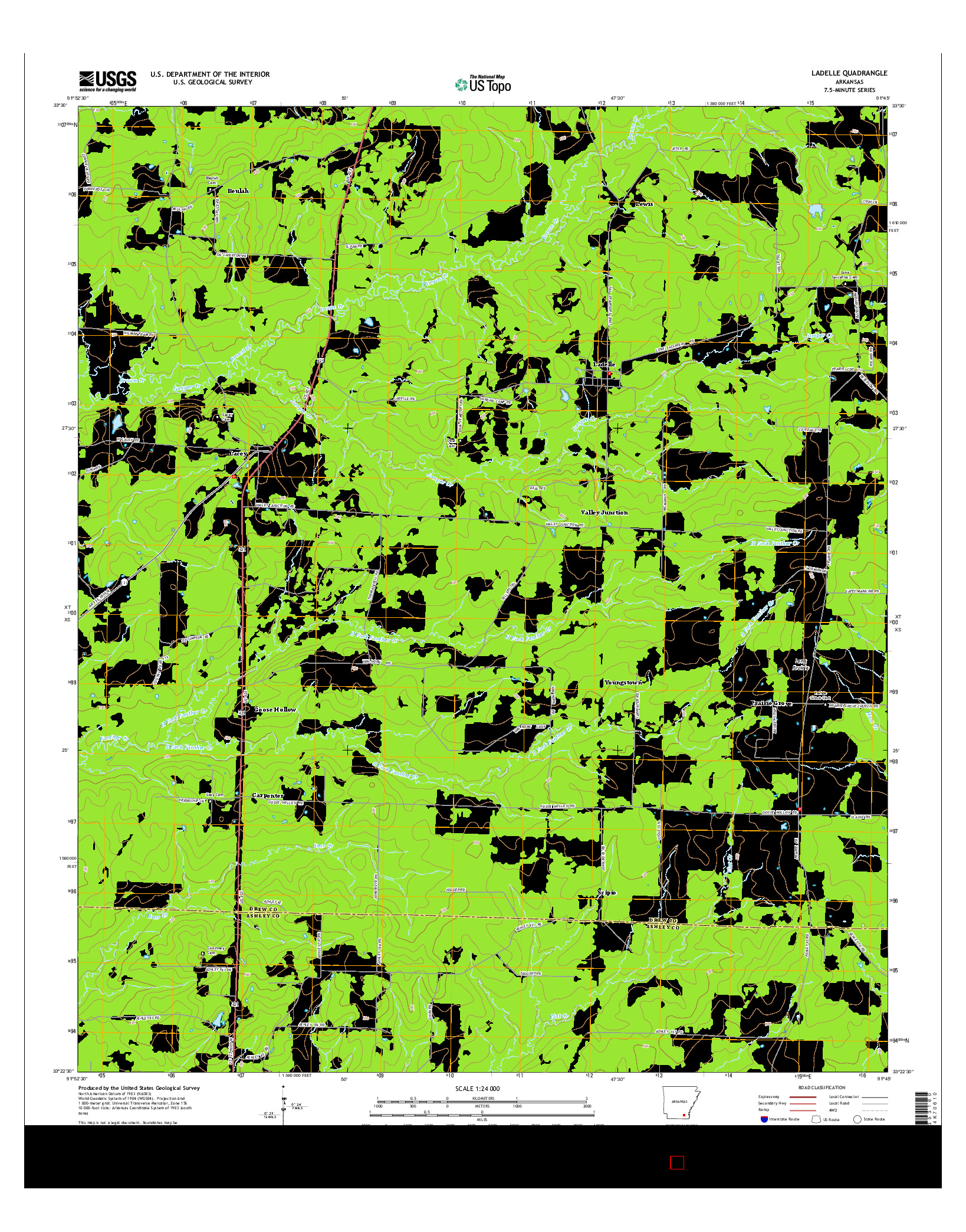 USGS US TOPO 7.5-MINUTE MAP FOR LADELLE, AR 2014