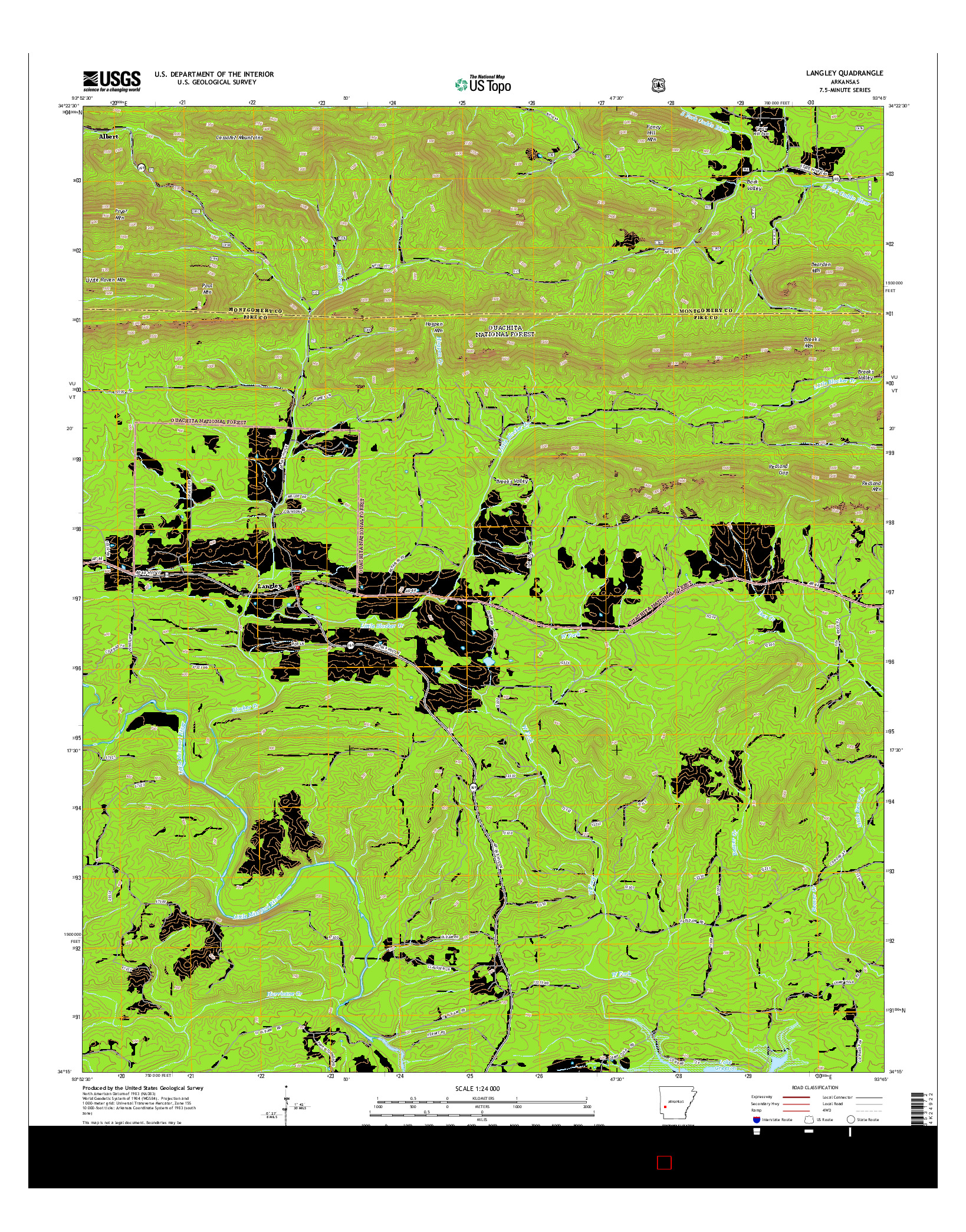 USGS US TOPO 7.5-MINUTE MAP FOR LANGLEY, AR 2014