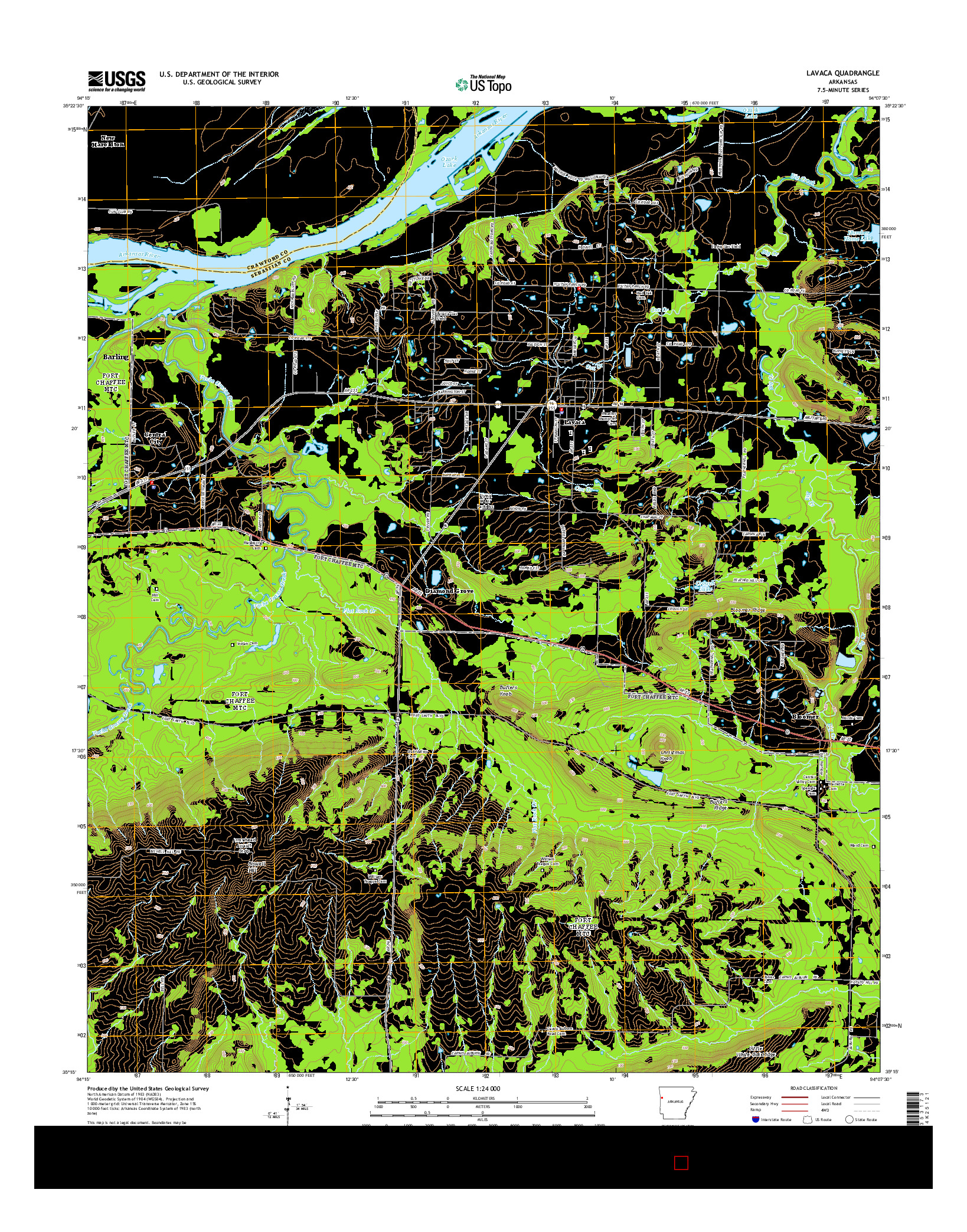 USGS US TOPO 7.5-MINUTE MAP FOR LAVACA, AR 2014