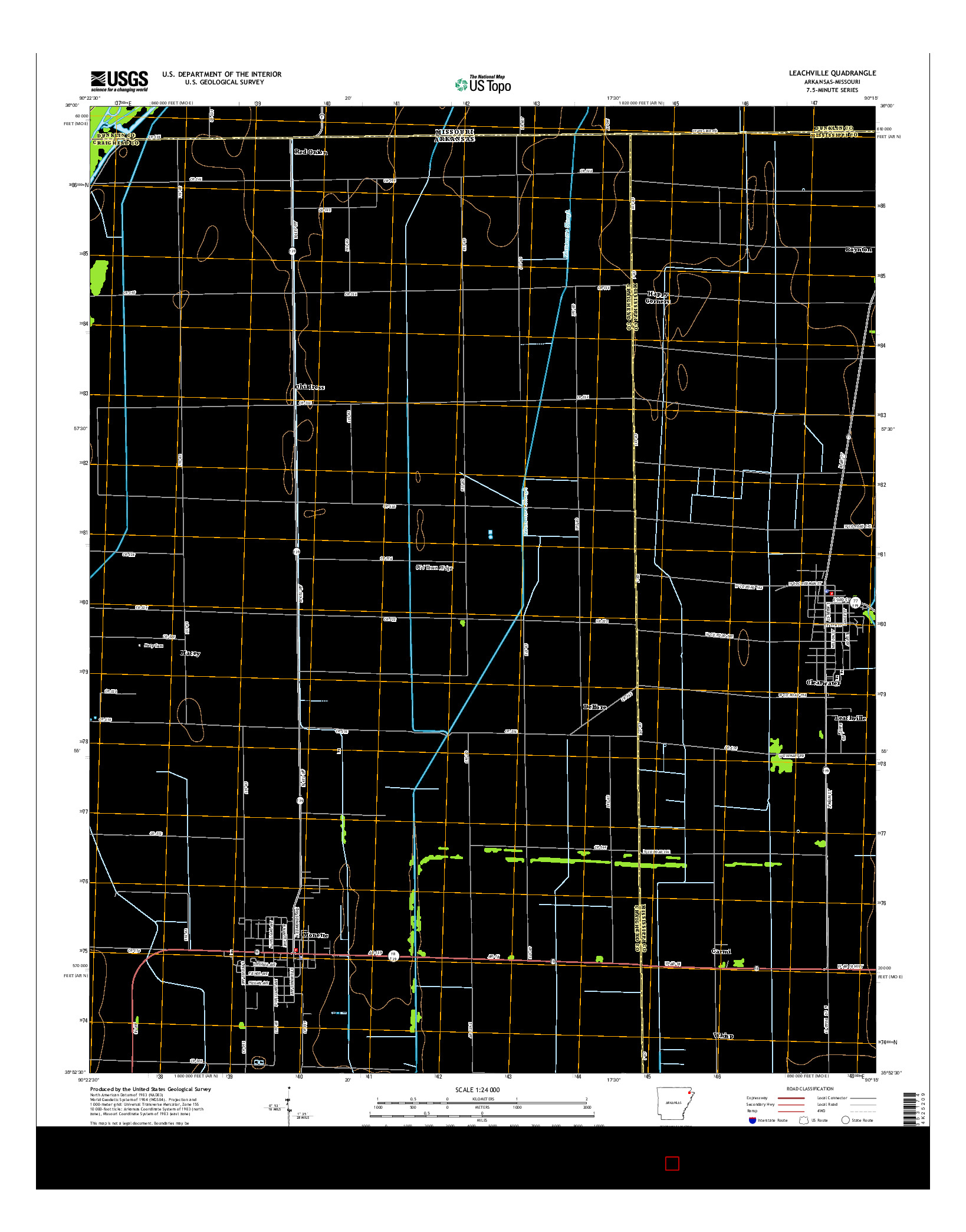 USGS US TOPO 7.5-MINUTE MAP FOR LEACHVILLE, AR-MO 2014