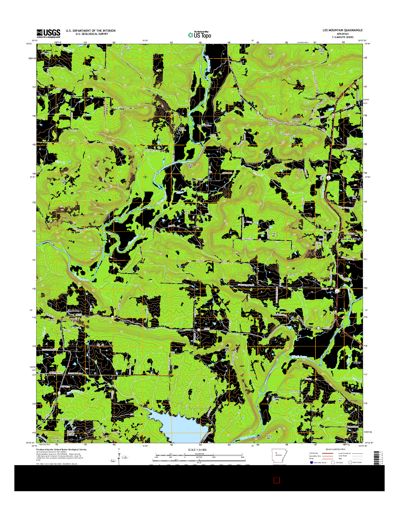 USGS US TOPO 7.5-MINUTE MAP FOR LEE MOUNTAIN, AR 2014