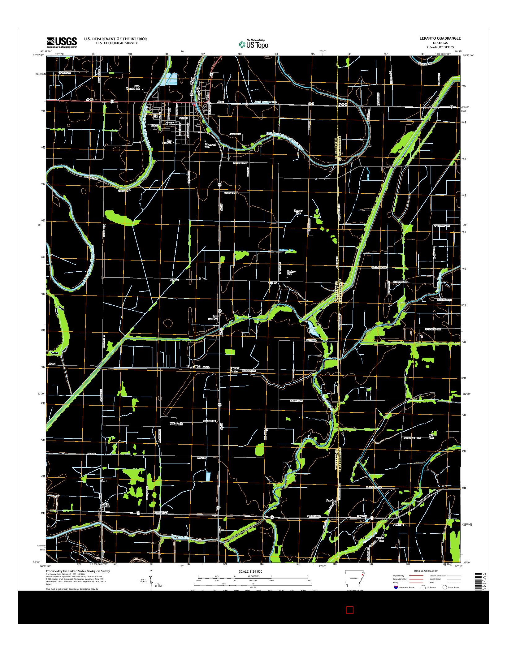 USGS US TOPO 7.5-MINUTE MAP FOR LEPANTO, AR 2014