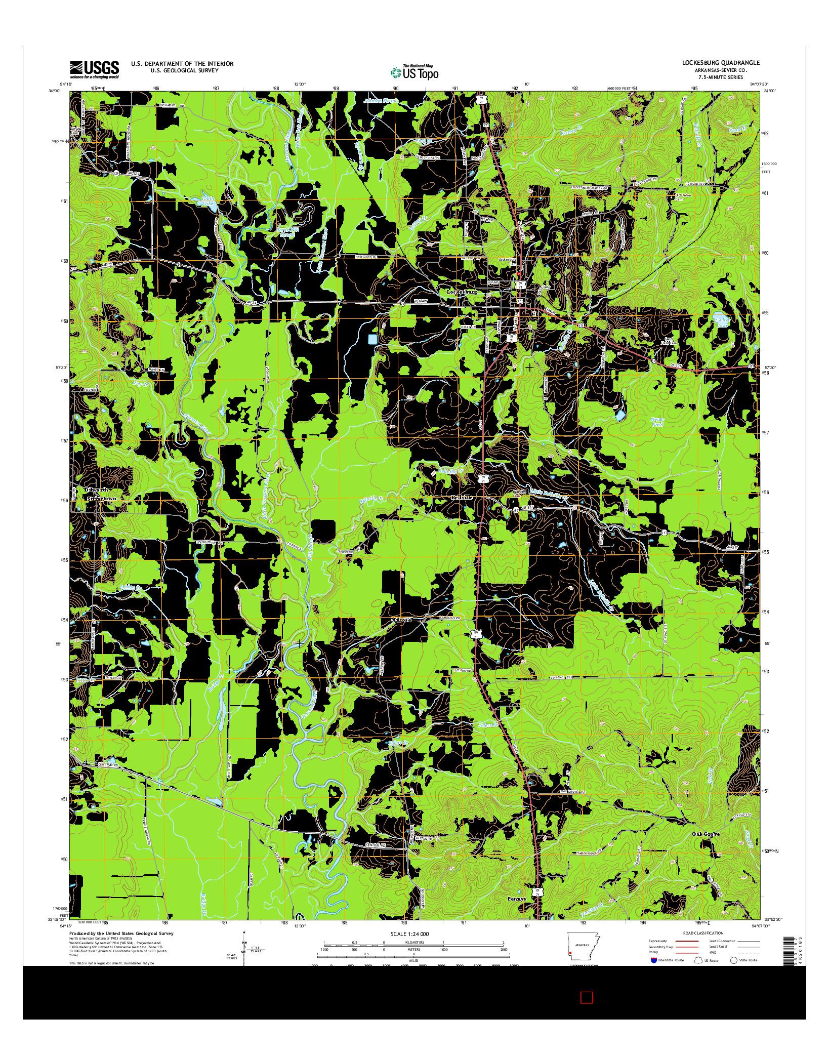 USGS US TOPO 7.5-MINUTE MAP FOR LOCKESBURG, AR 2014