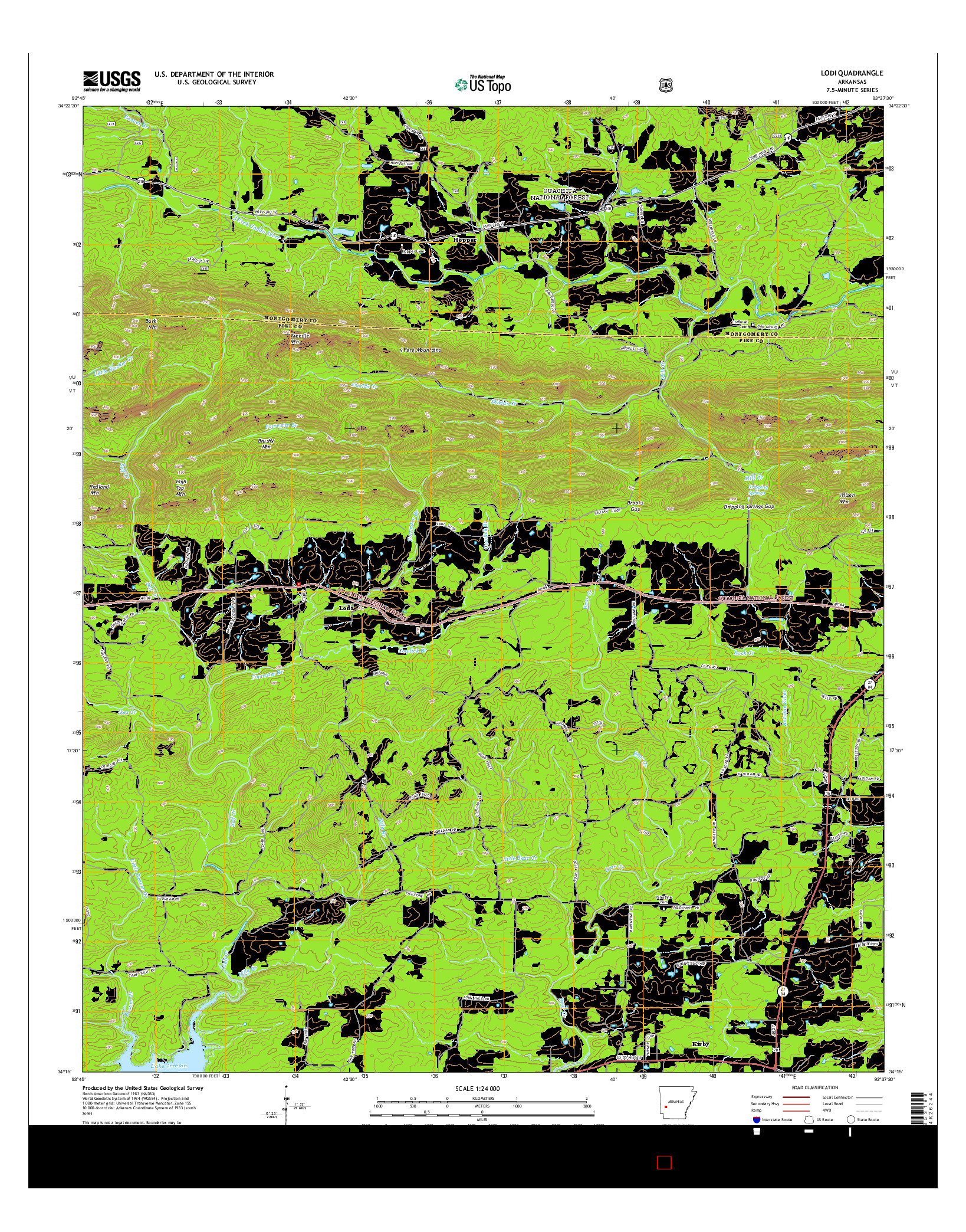 USGS US TOPO 7.5-MINUTE MAP FOR LODI, AR 2014